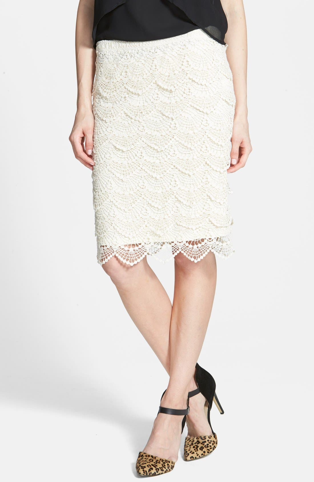 Main Image - Jolt Crochet Midi Skirt (Juniors)