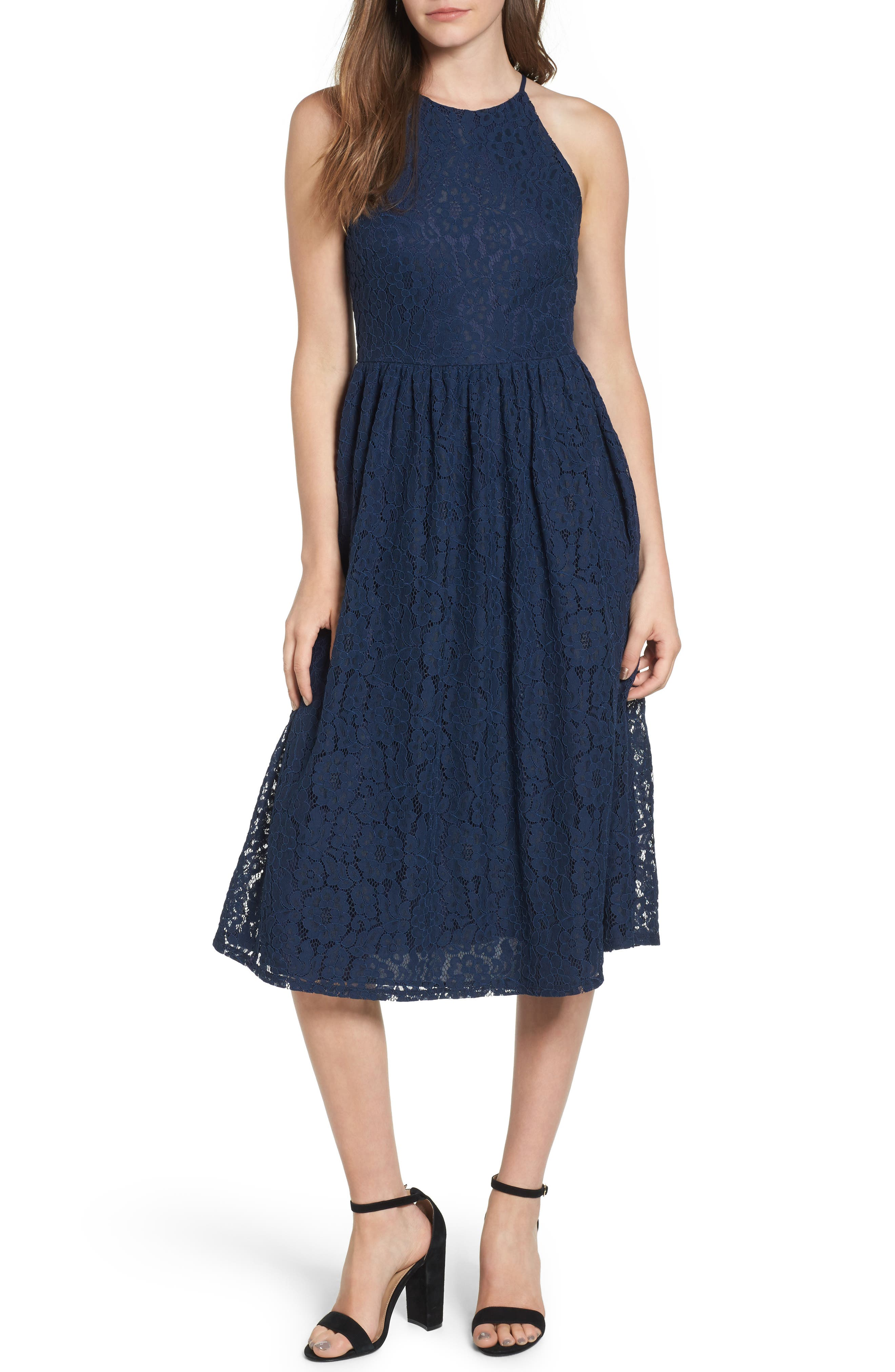 Soprano High Neck Lace Midi Dress