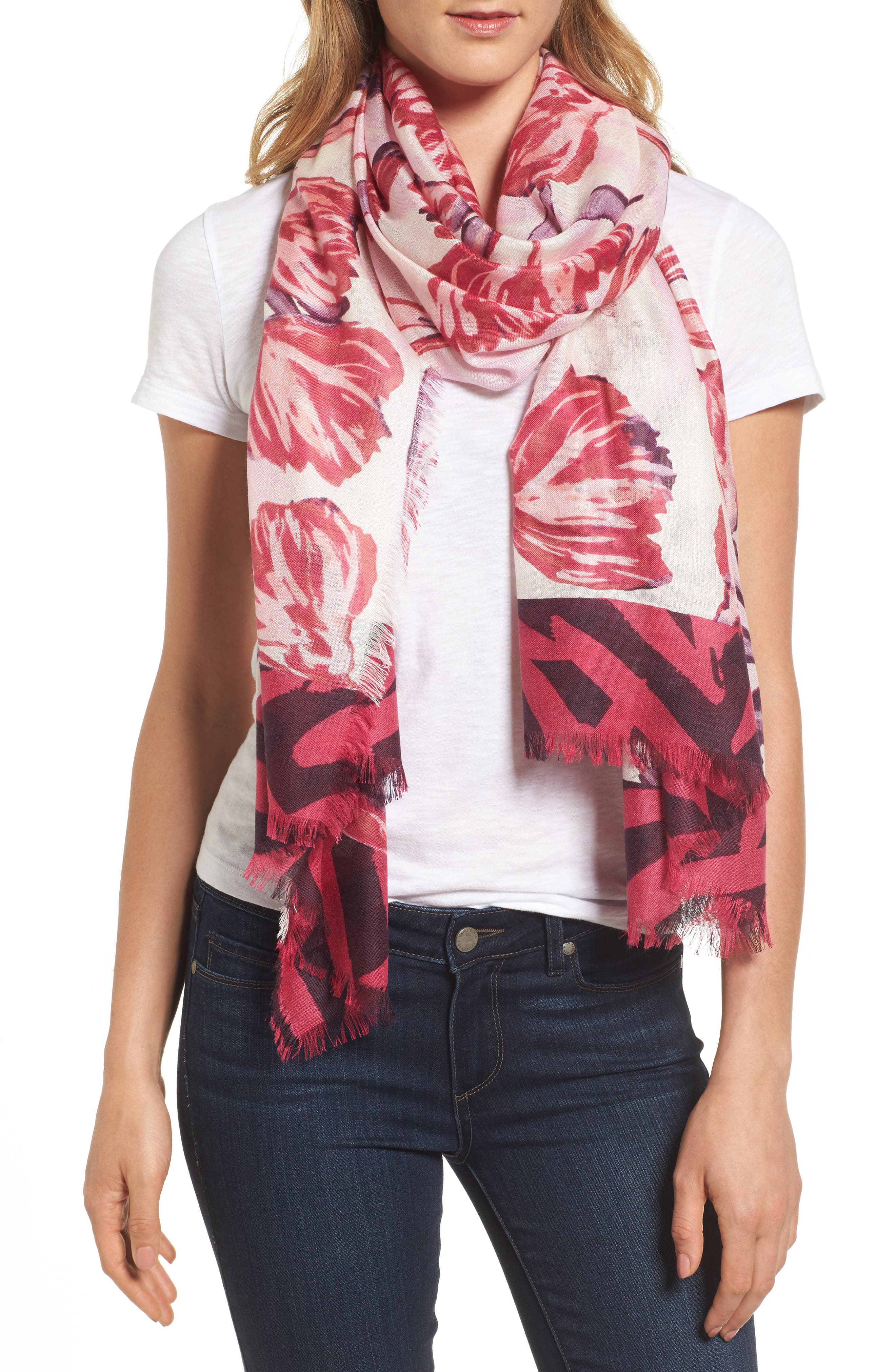 Nordstrom Exotic Floral Print Cashmere & Silk Scarf