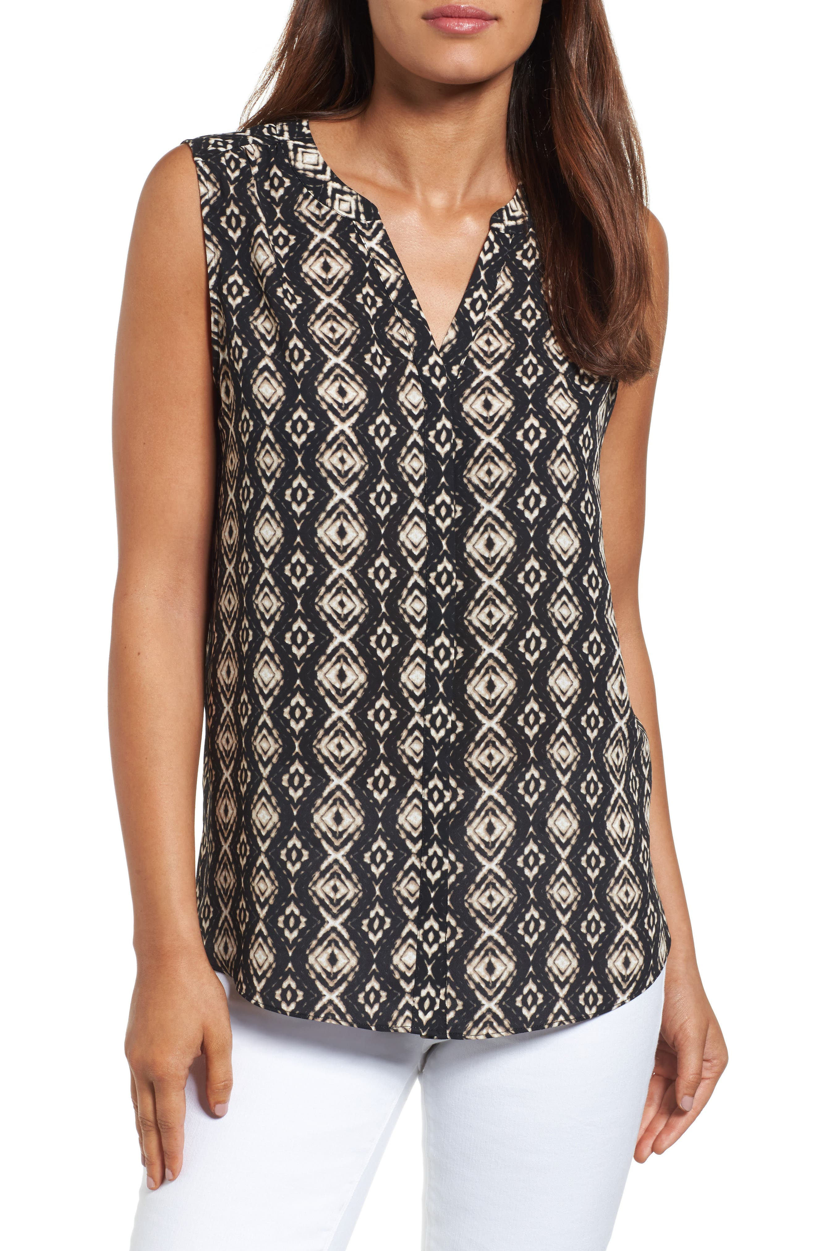 NYDJ Print Pleat Back Sleeveless Split Neck Blouse (Regular & Petite) (Nordstrom Exclusive)