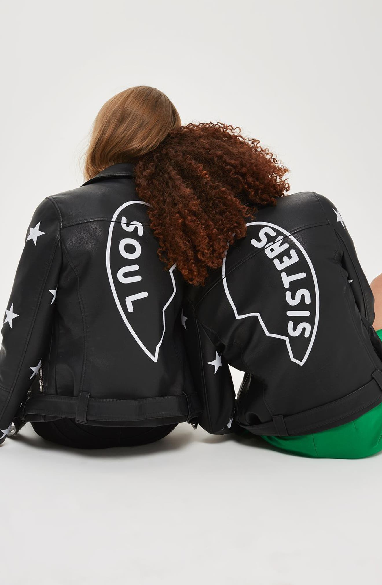 Alternate Image 2  - Topshop Soul Faux Leather Biker Jacket
