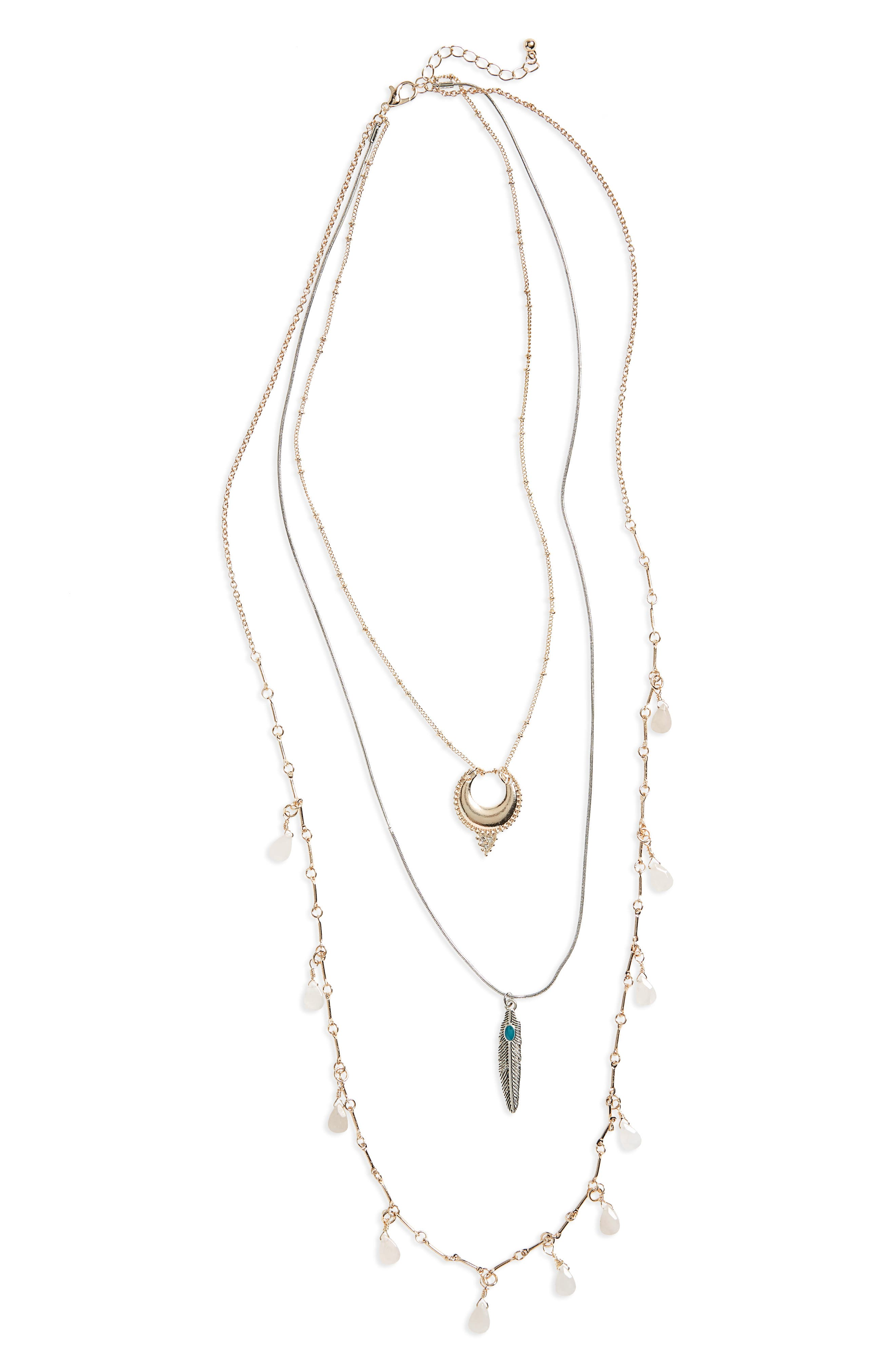 Topshop Crescent, Feather & Briolette Layer Necklace