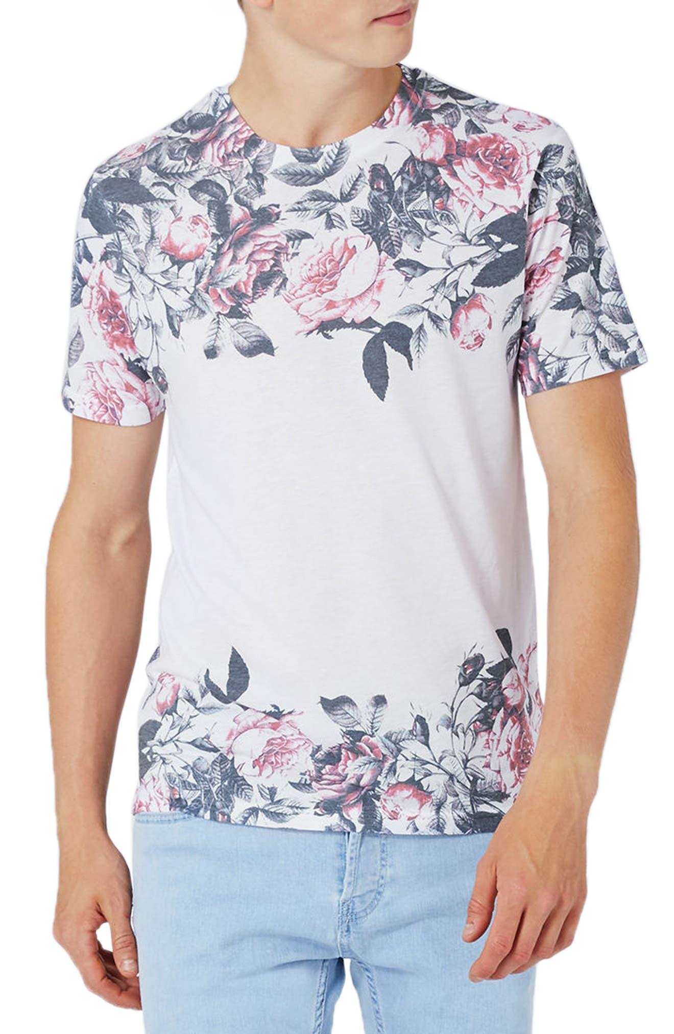 Topman Fade Rose Panel T-Shirt