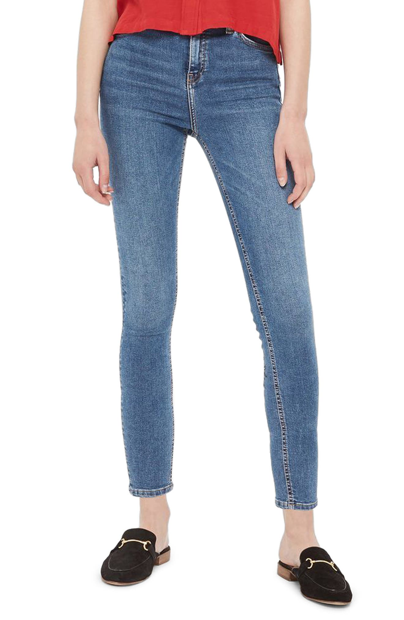 Topshop Jamie Embroidered High Rise Skinny Jeans