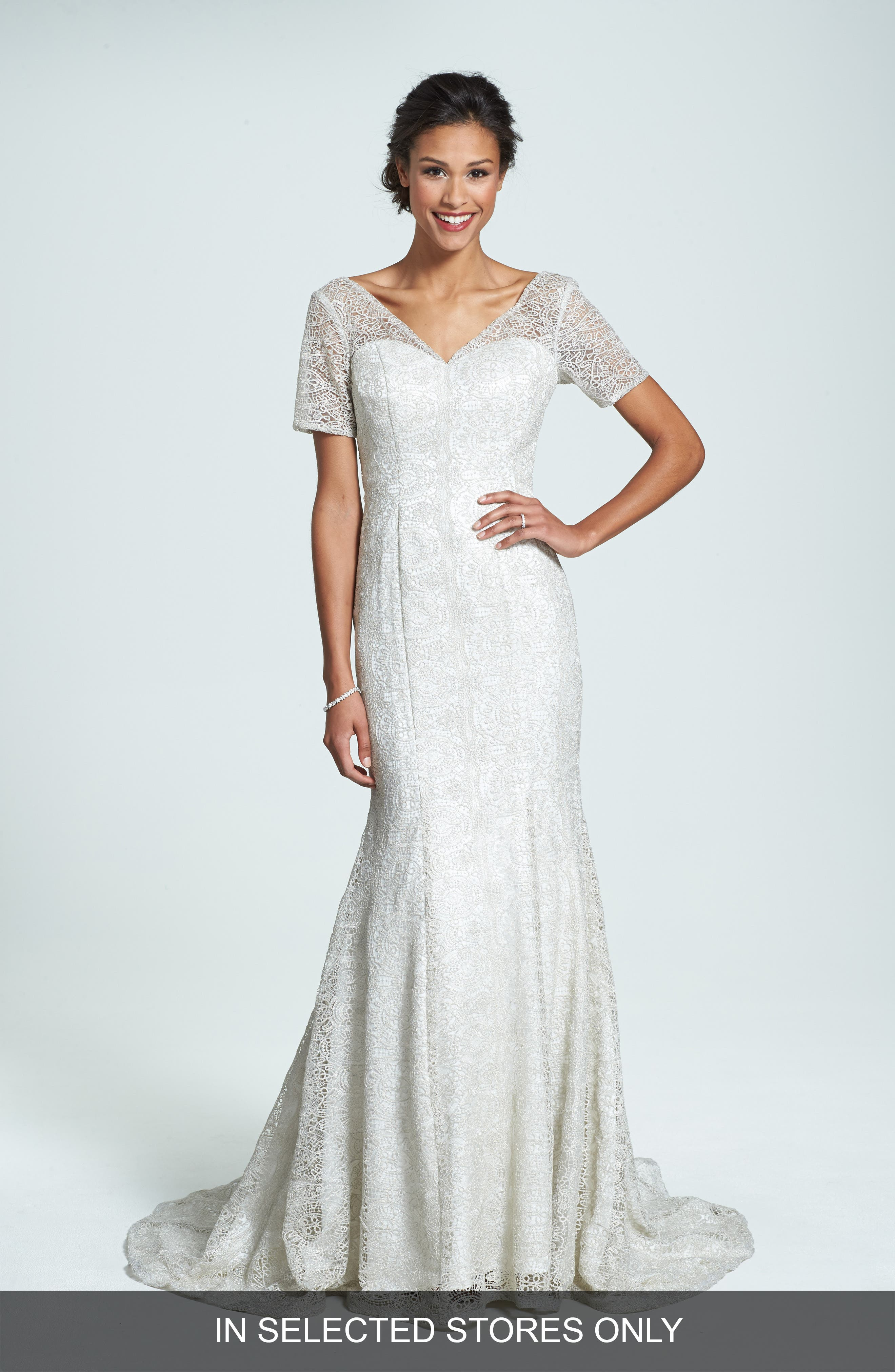 Olia Zavozina 'Ivy' Metallic Lace Trumpet Gown (In Stores Only)