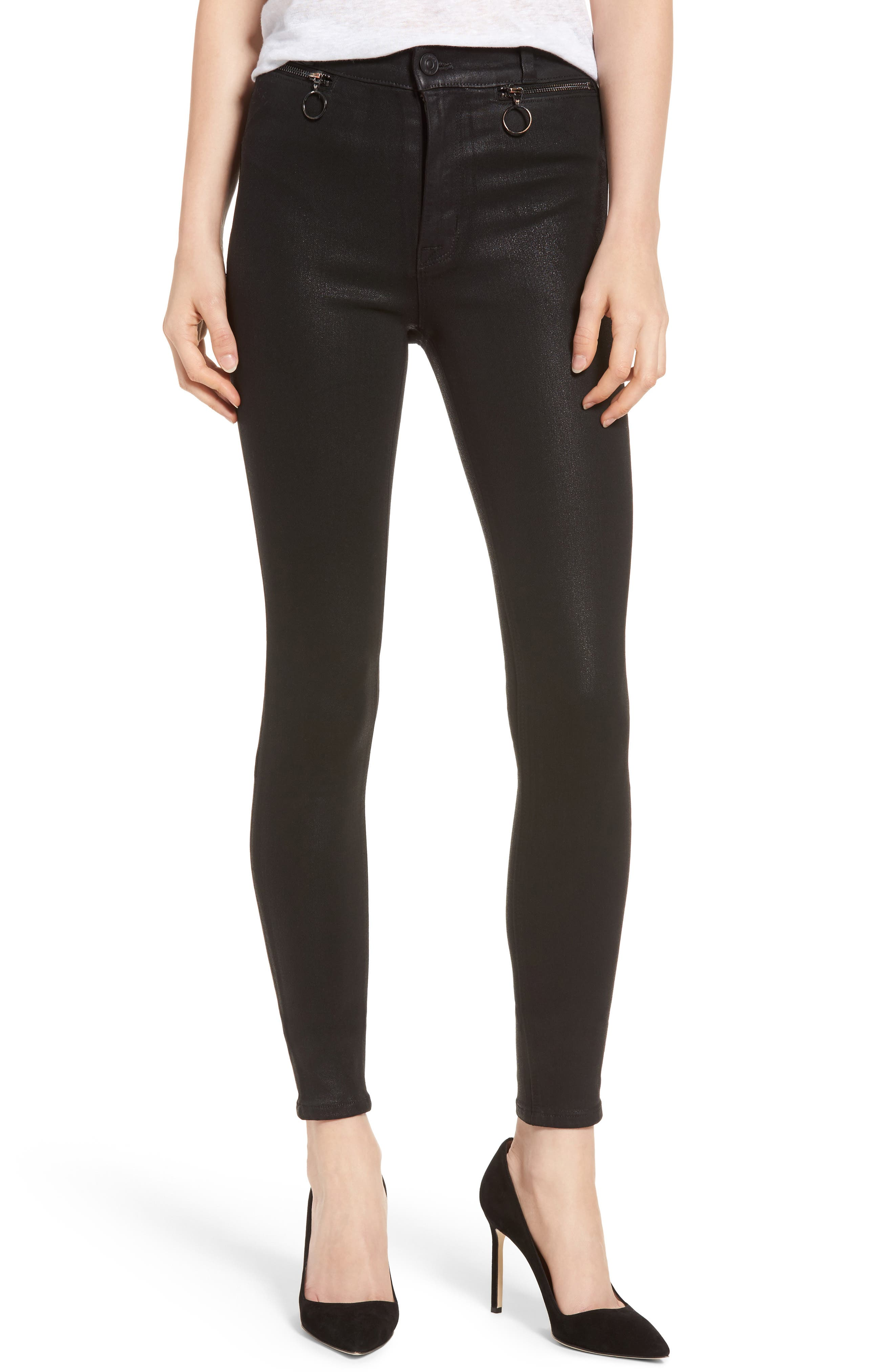 Hudson Jeans Kooper Coated Skinny Jeans (Black Coated)