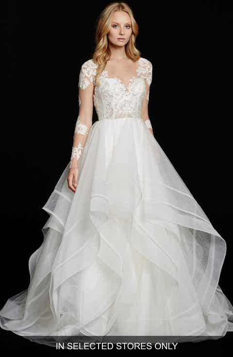 hayley paige elysia long sleeve lace tulle ballgown in