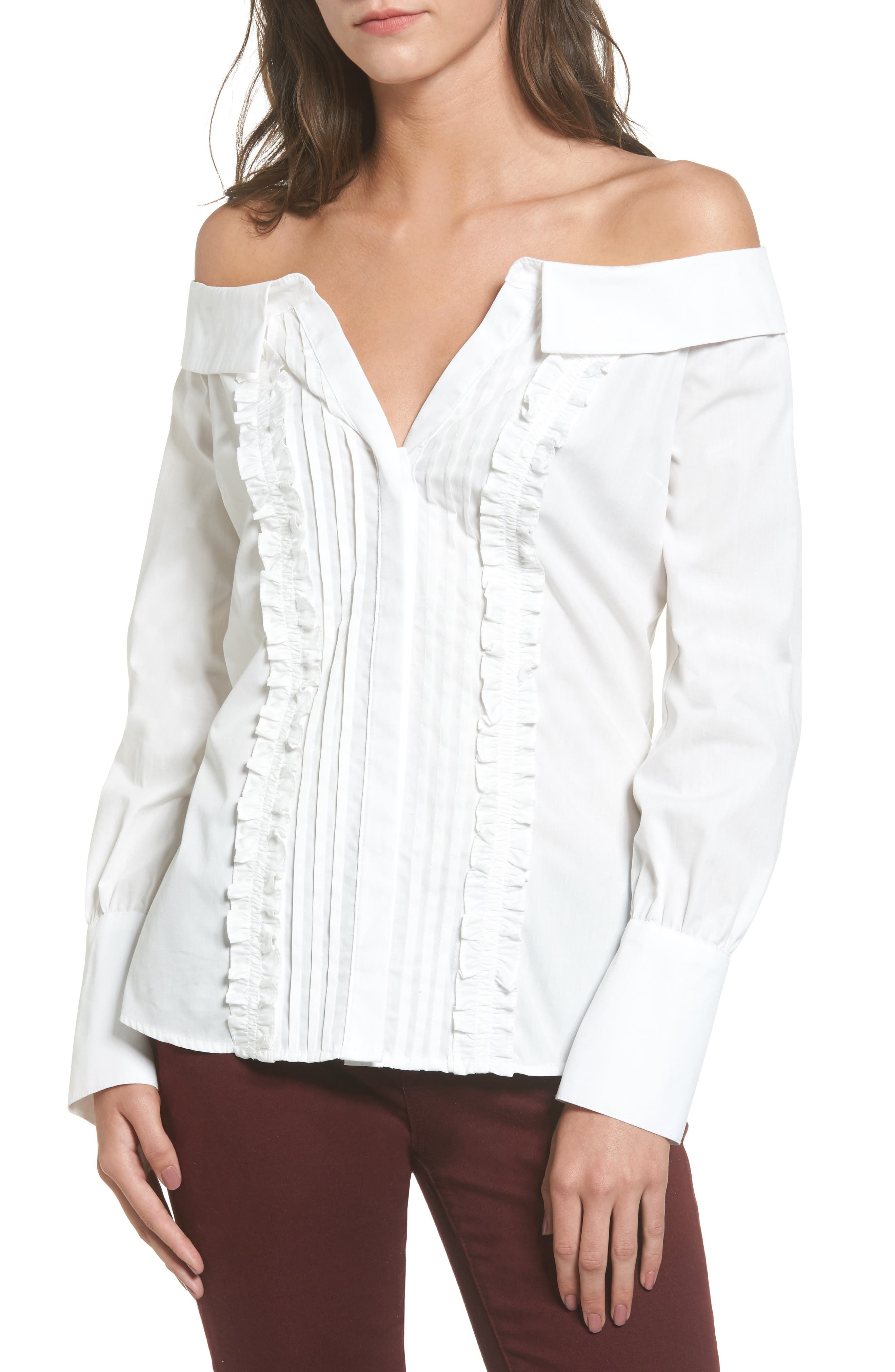 Socialite Ruffle Off the Shoulder Shirt