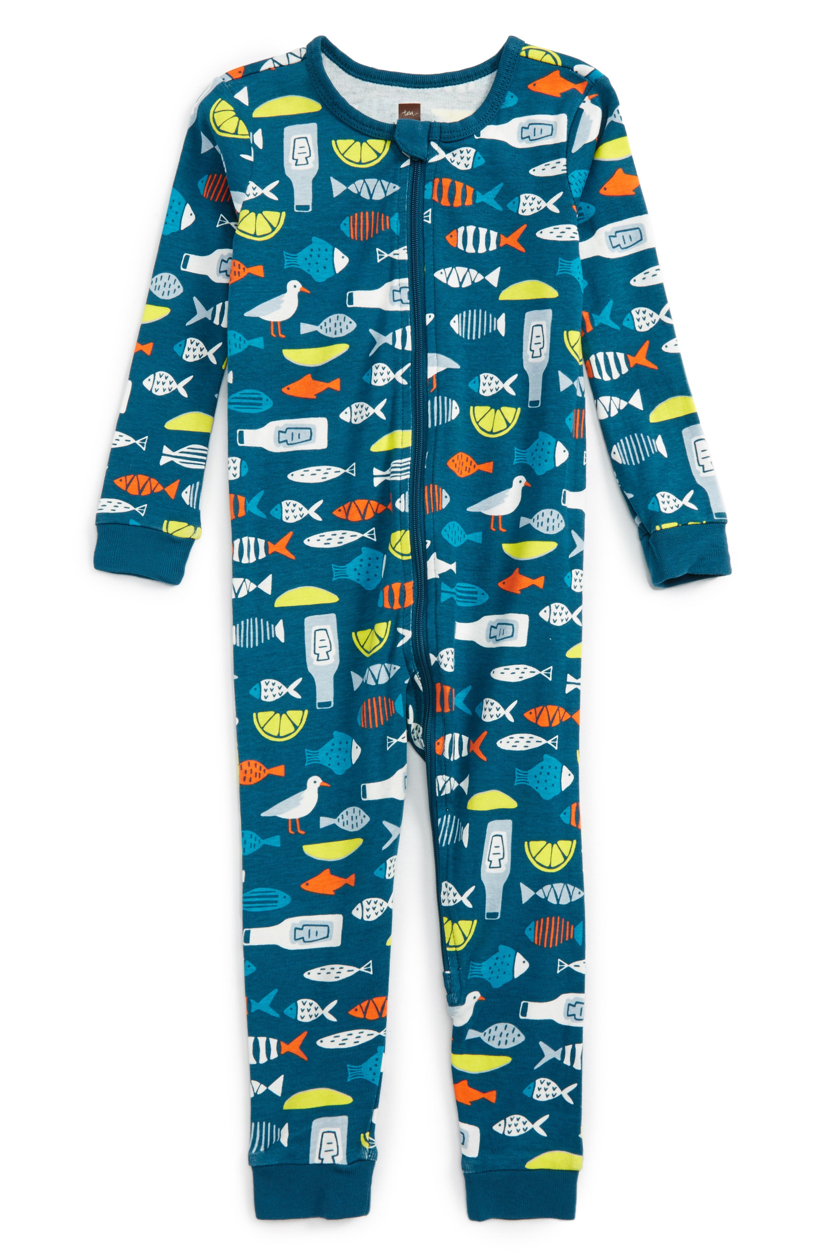 Tea Collection Fish & Chips One-Piece Fitted Pajamas (Baby Boys)