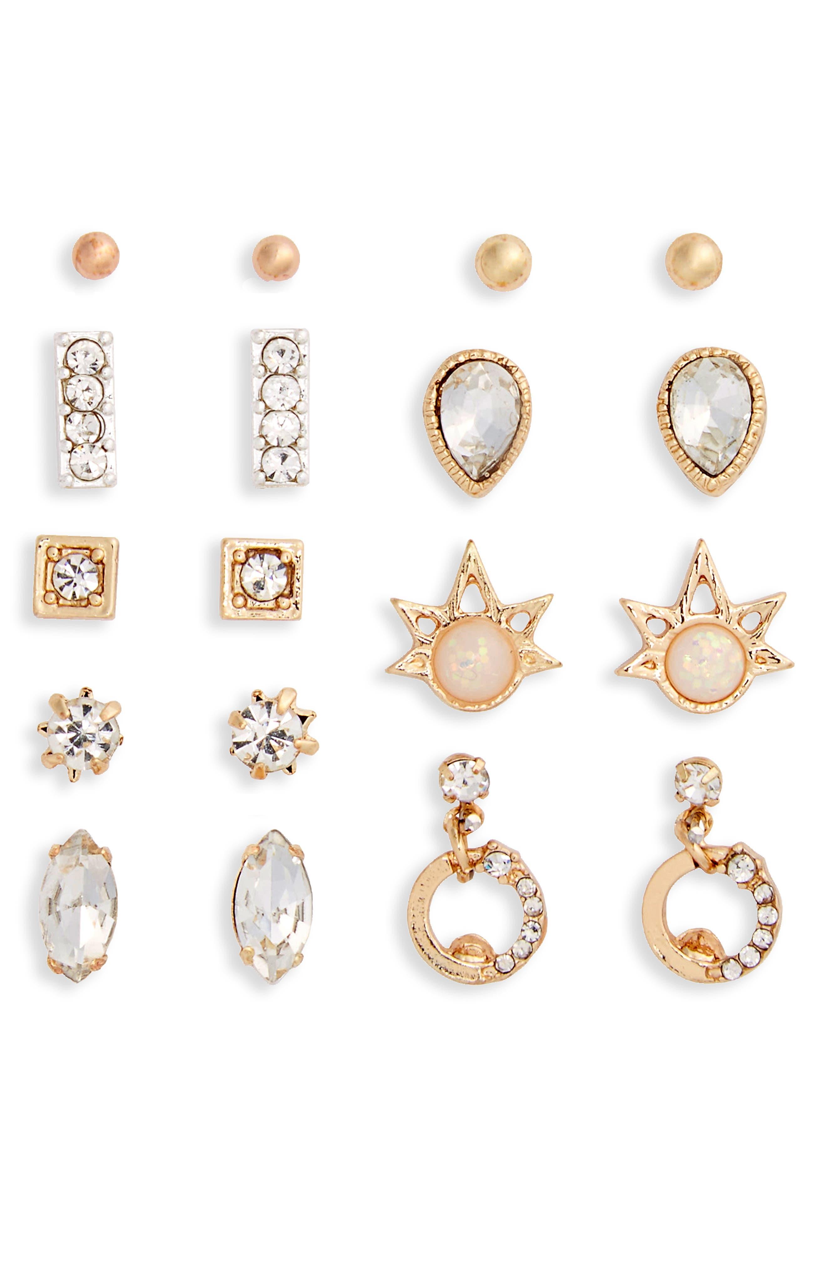 BP. 9-Pack Crystal Stud Earrings