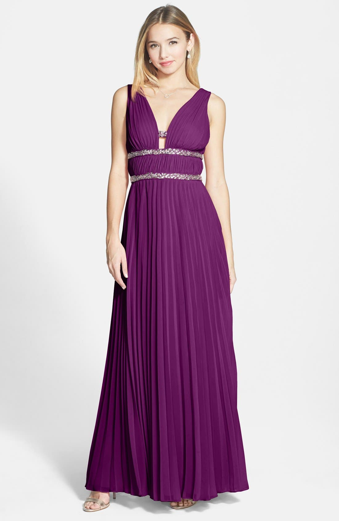 Main Image - Hailey by Adrianna Papell Embellished Pleated Chiffon Gown
