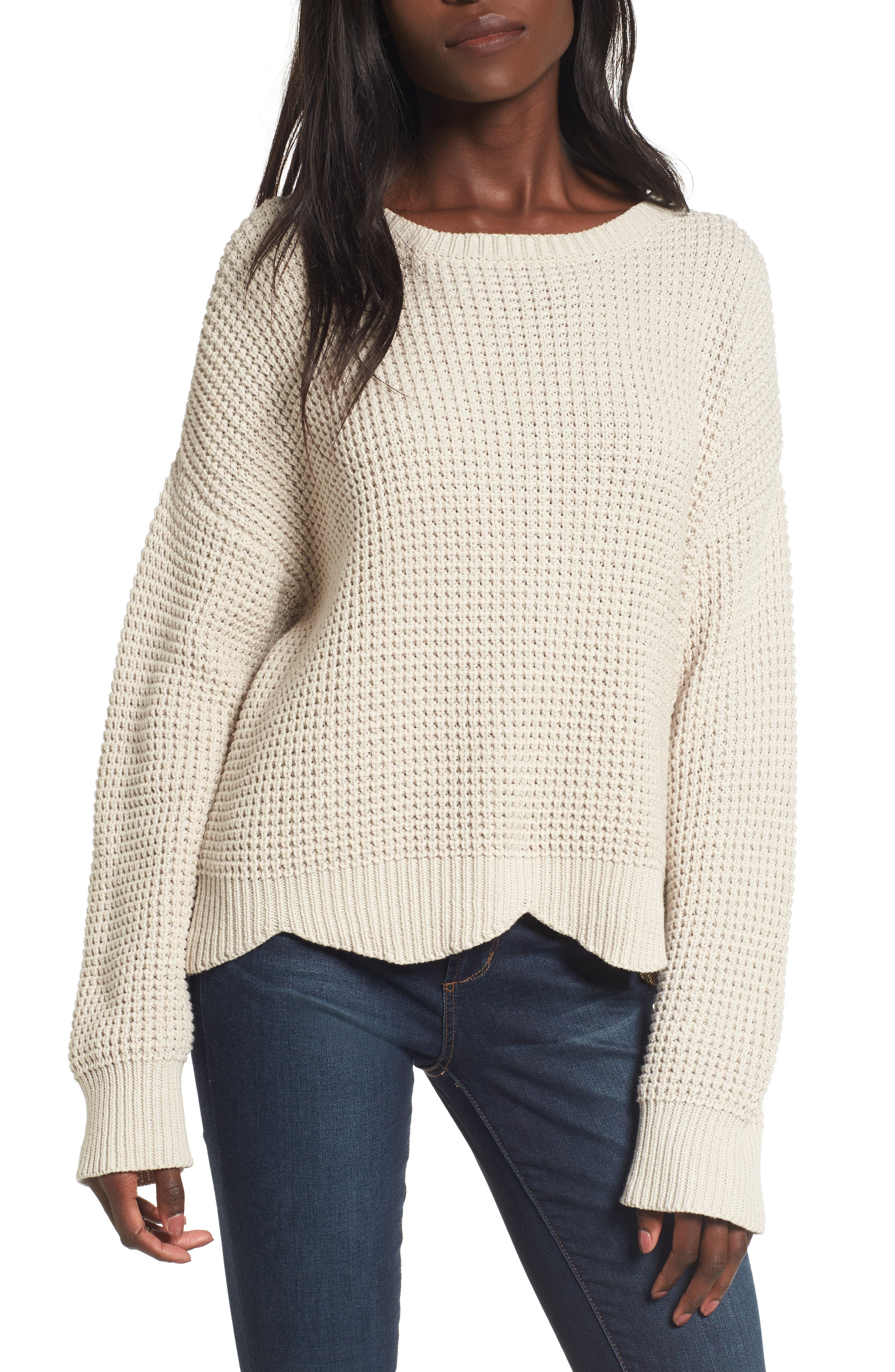 Lost + Wander Nina Scalloped Hem Sweater