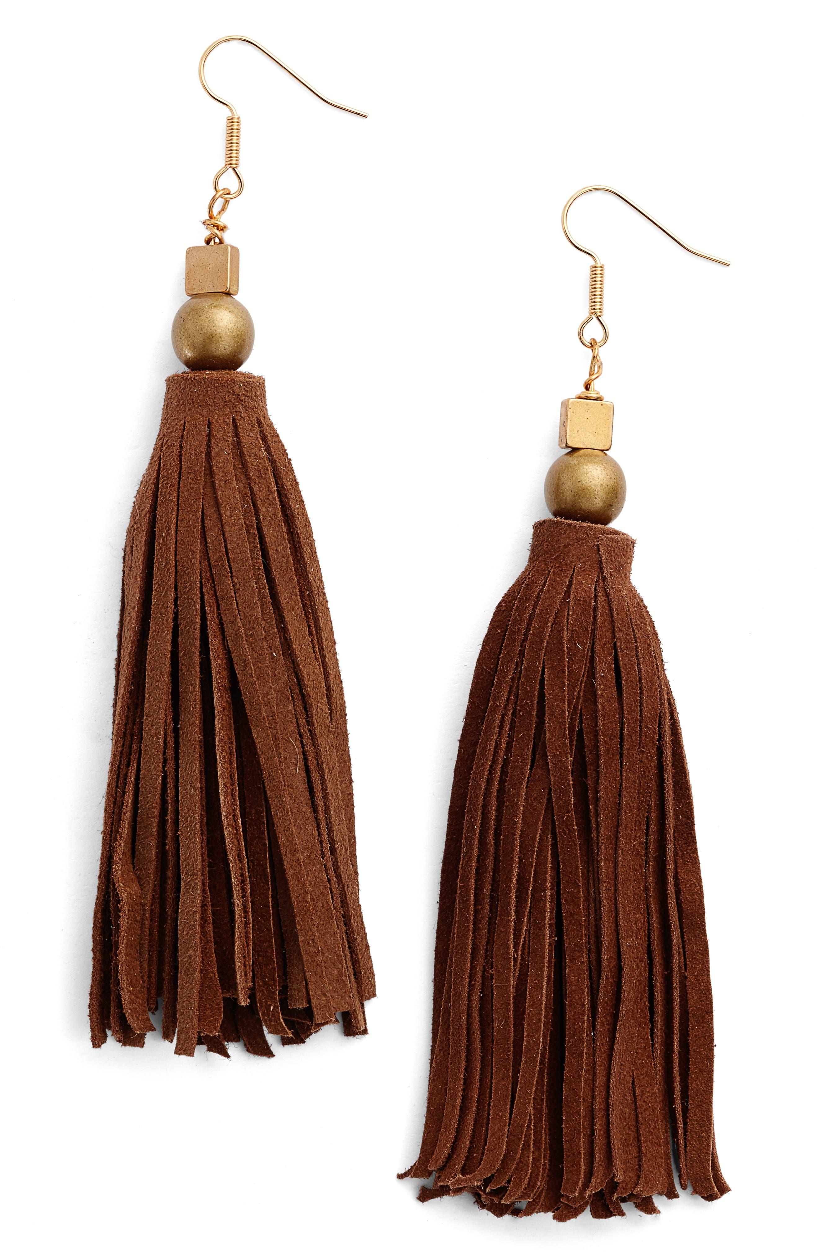 Ink + Alloy Suede Tassel Drop Earrings