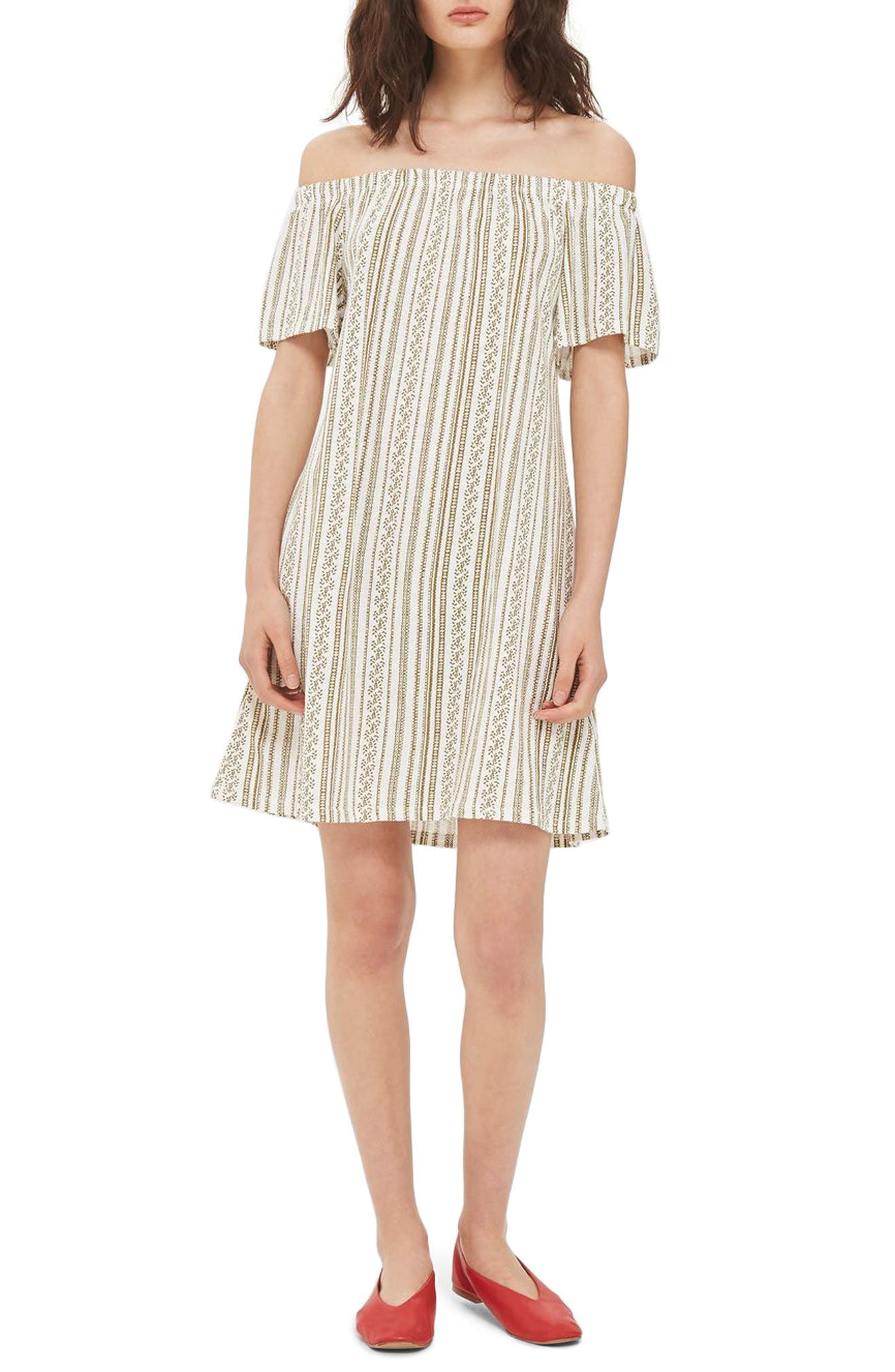 Topshop Stripe Off the Shoulder Minidress