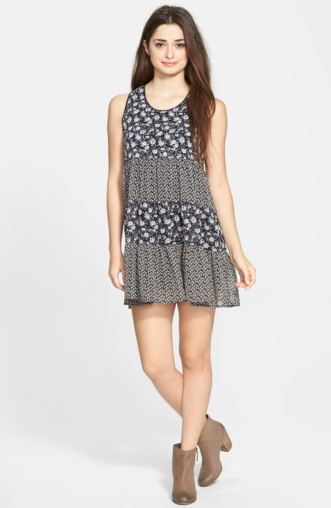 Alternate Image 1 Selected - Paper Crane Mixed Print Babydoll Dress (Juniors)