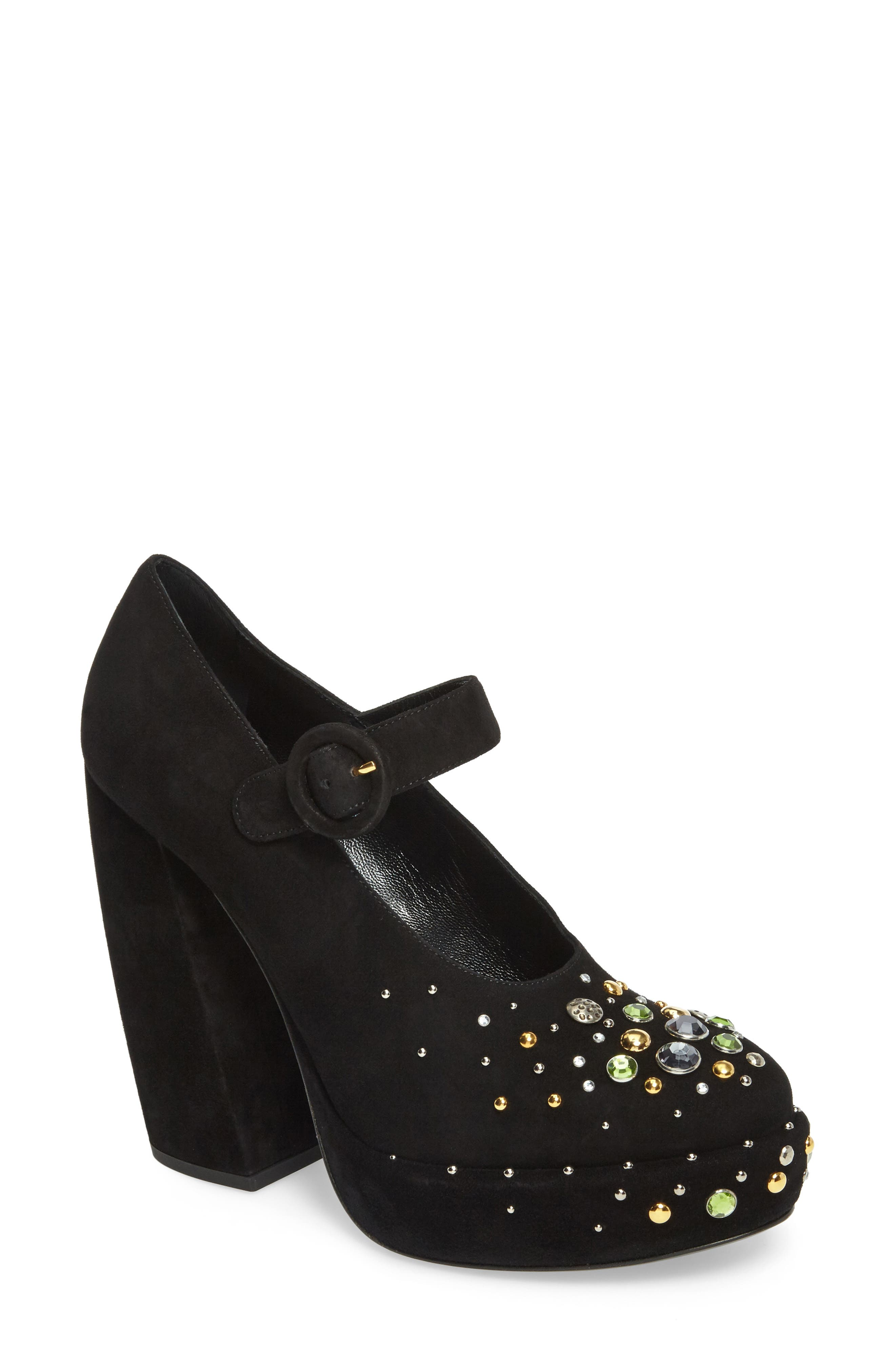 Prada Embellished Mary Jane Platform Pump (Women)