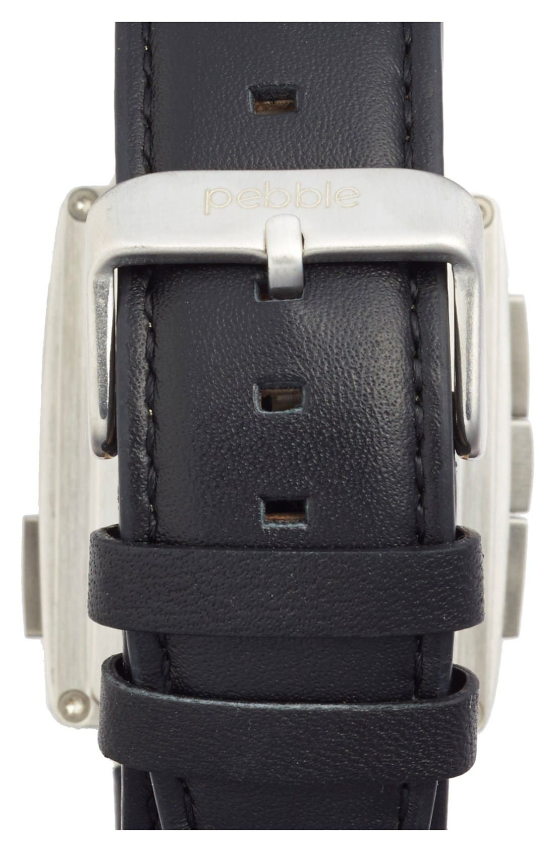 Alternate Image 2  - Pebble Rectangular Leather Strap Smart Watch, 43mm