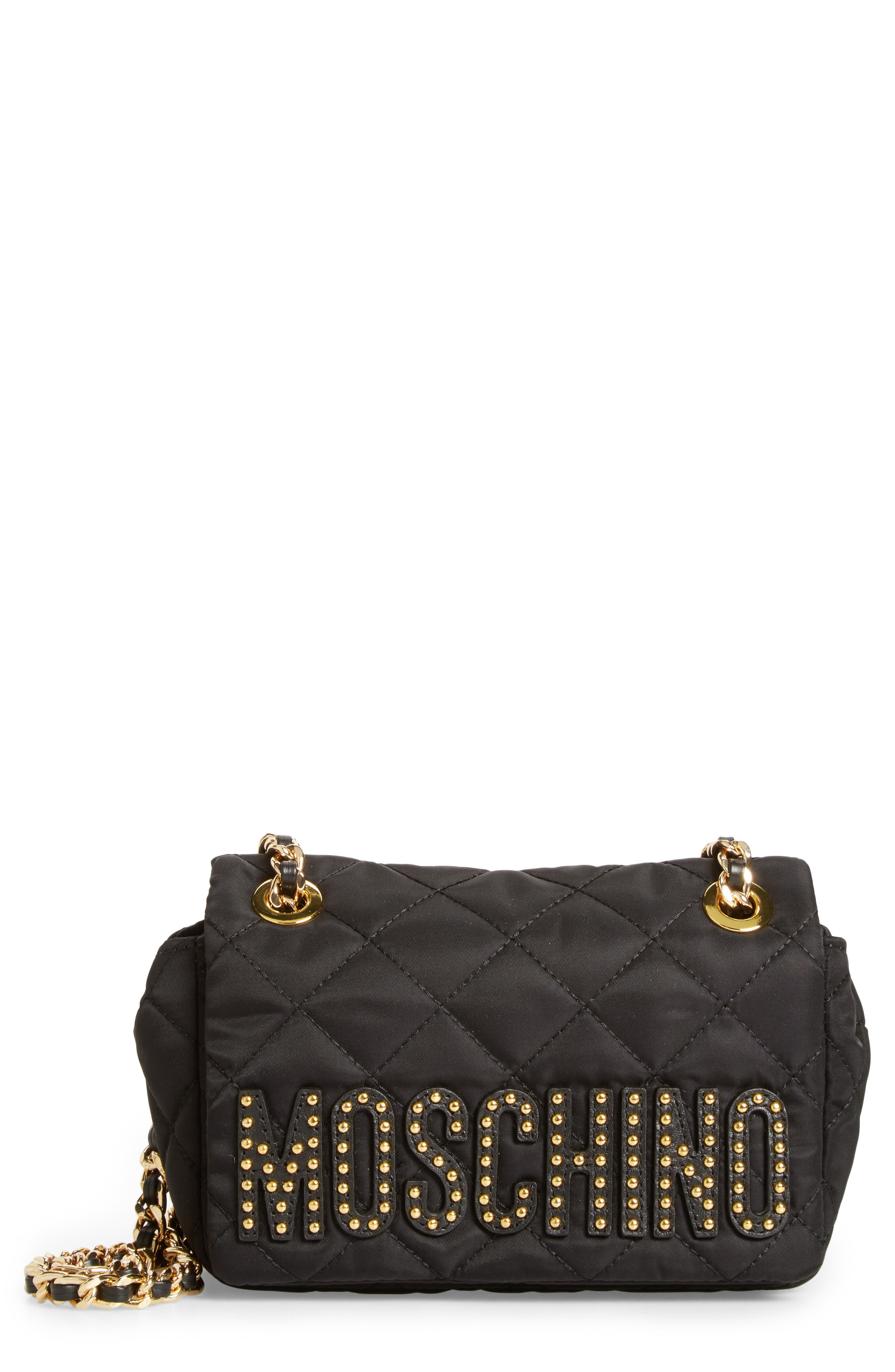 Moschino Studded Logo Quilted Nylon Shoulder Bag