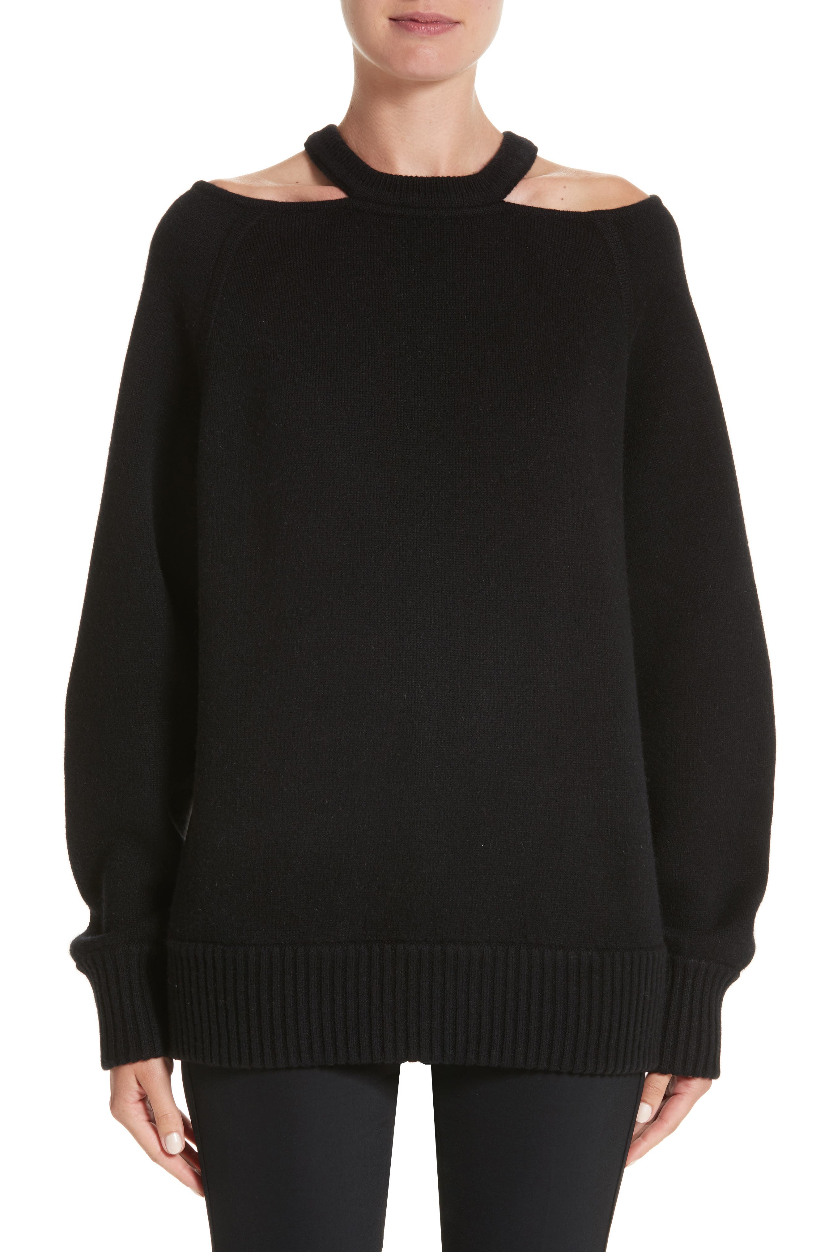 Jason Wu Cutout Collar Wool Blend Sweater