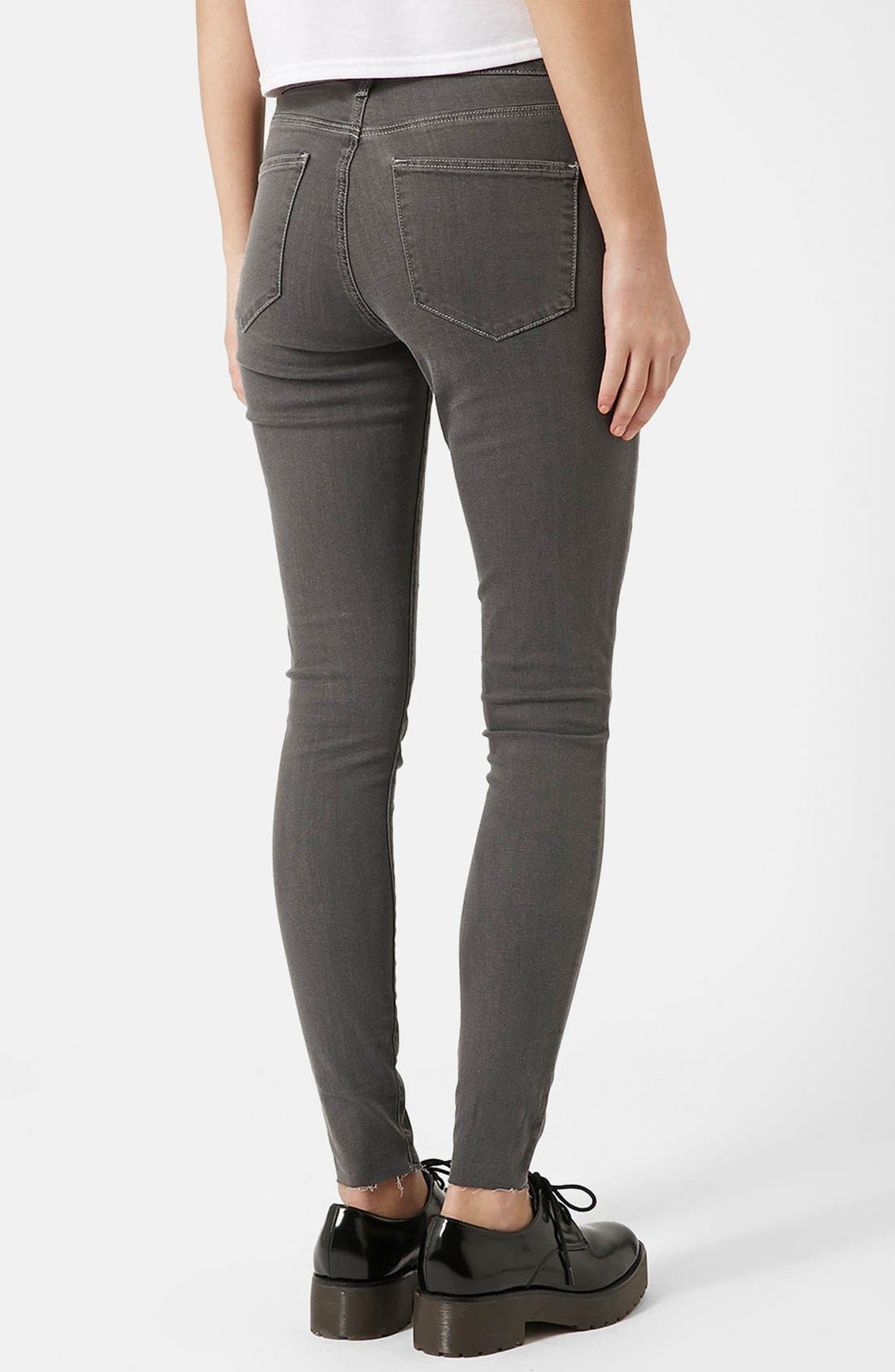 Alternate Image 2  - Topshop Moto 'Leigh' Ankle Skinny Jeans (Grey) (Regular & Short)