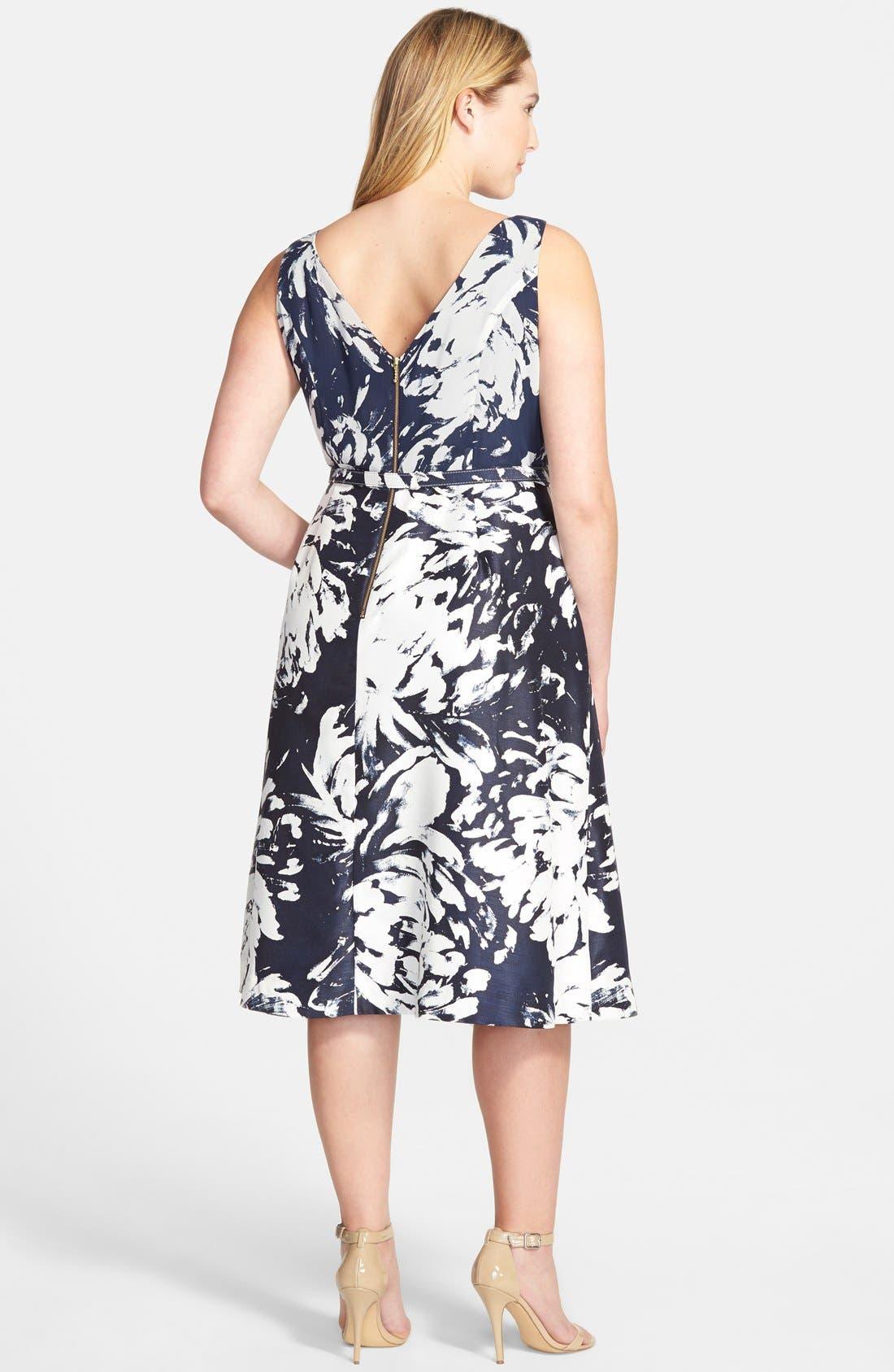 Alternate Image 2  - Taylor Dresses Floral  V-Neck Fit & Flare Dress  (Plus Size)