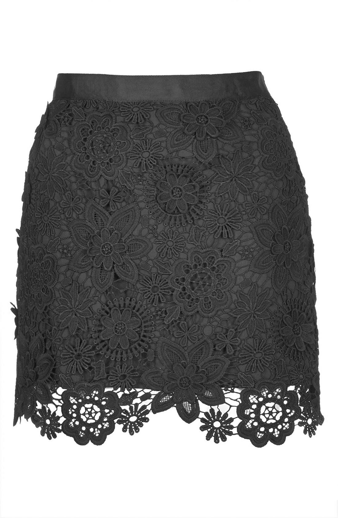 Alternate Image 3  - Topshop 3D Lace Miniskirt