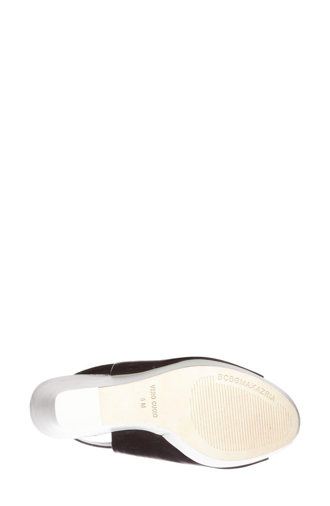 Alternate Image 4  - BCBGMAXAZRIA 'Ma-Cue' Peep Toe Leather Wedge Sandal (Women)