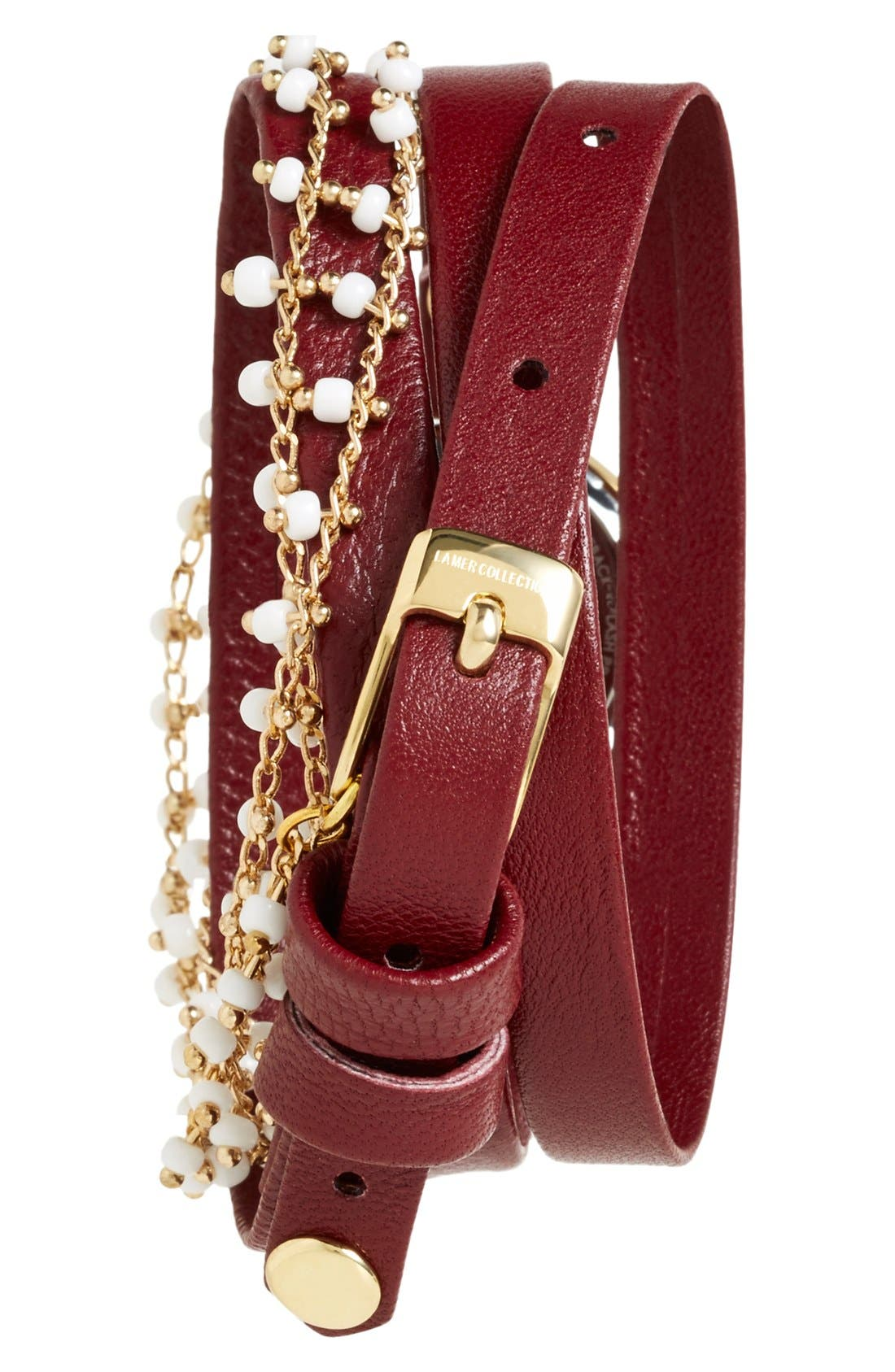 Alternate Image 2  - La Mer Collections Beaded Chain & Leather Wrap Watch, 19mm