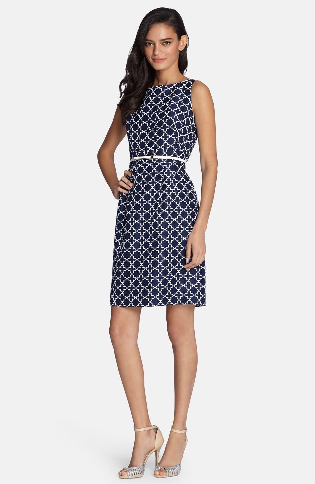 Main Image - Tahari Belted Jacquard Sheath Dress (Regular & Petite)