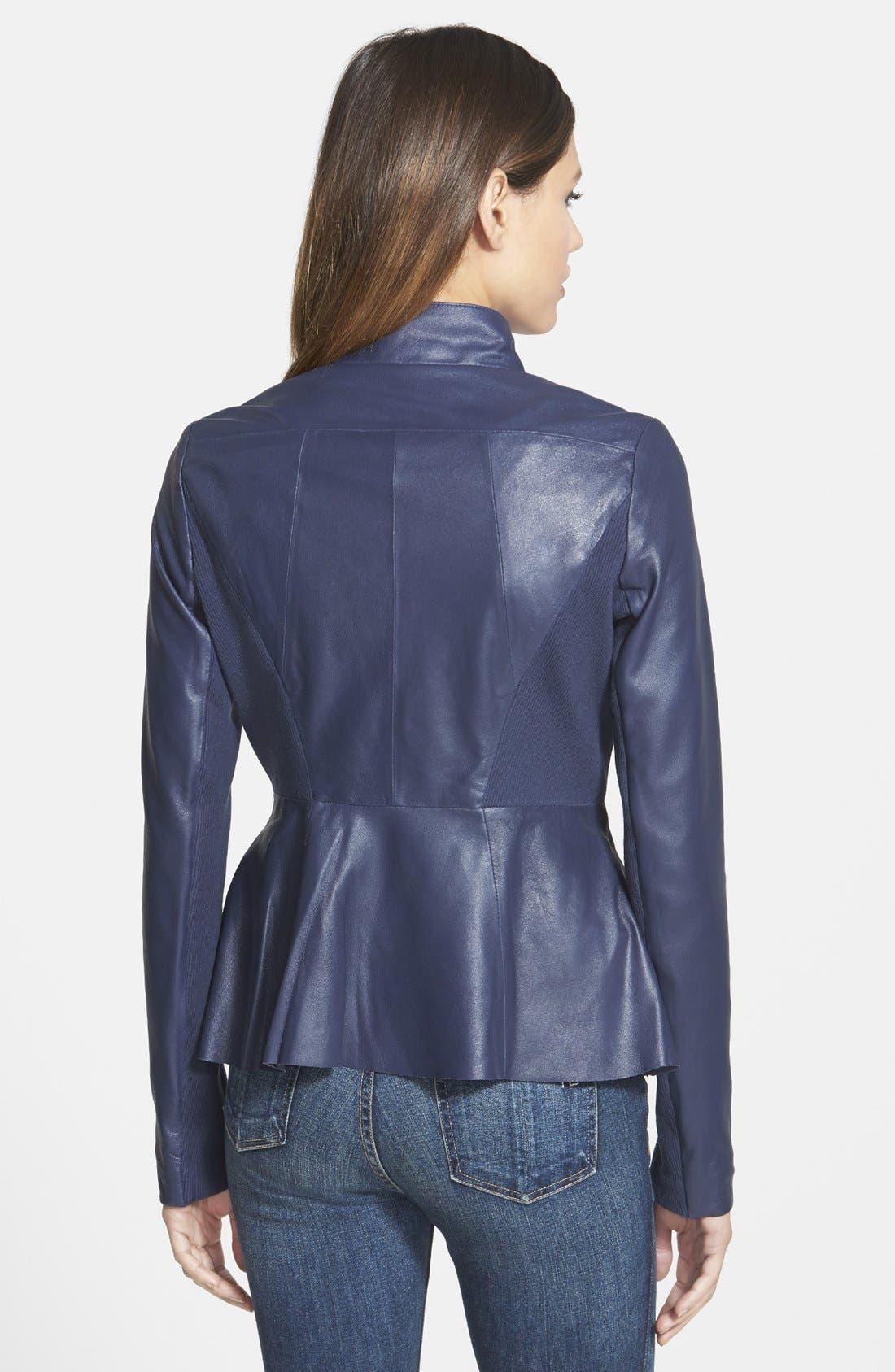 Alternate Image 2  - Elie Tahari 'Constance' Drape Front Leather Jacket