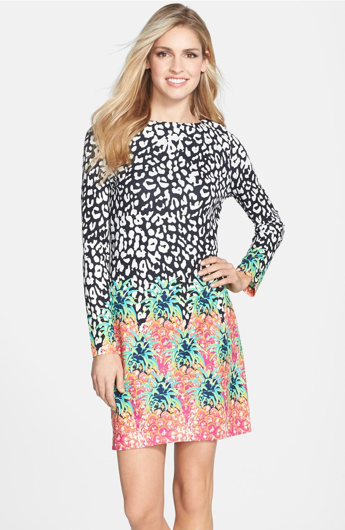 Main Image - Nicole Miller Mixed Print Jersey Shift Dress