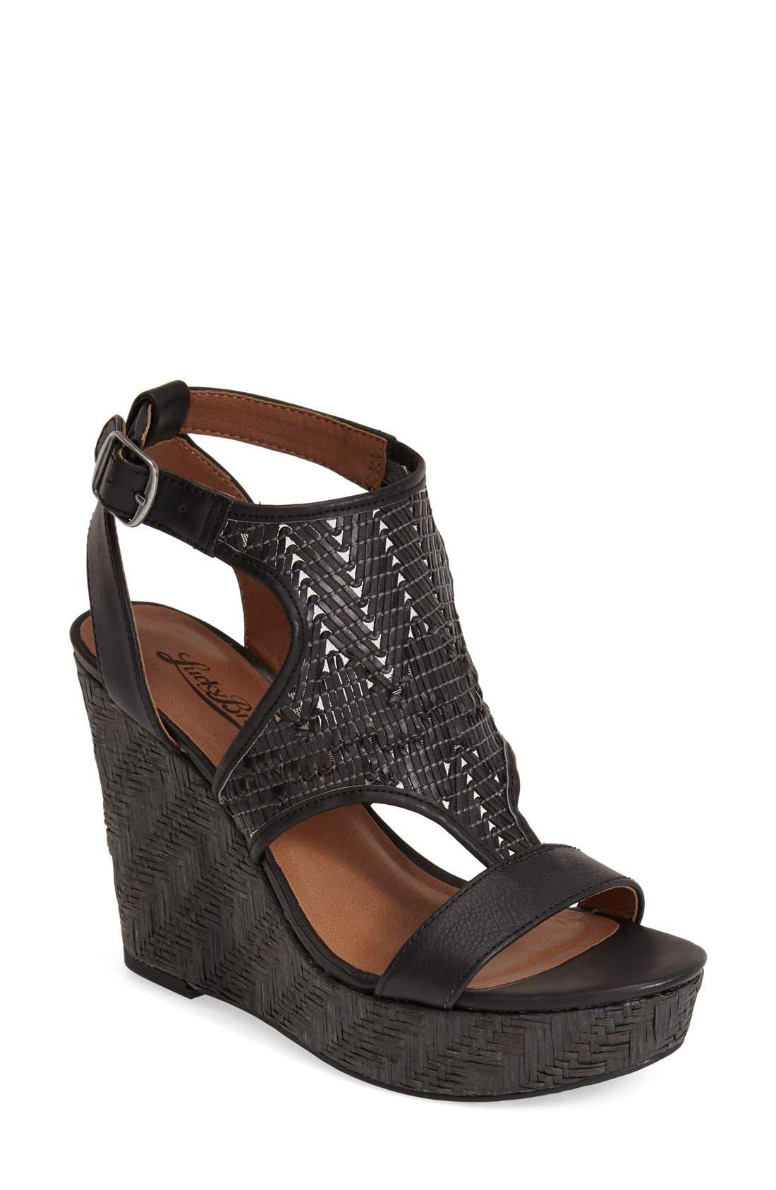 Main Image - Lucky Brand 'Laffertie' T-Strap Wedge Sandal (Women)