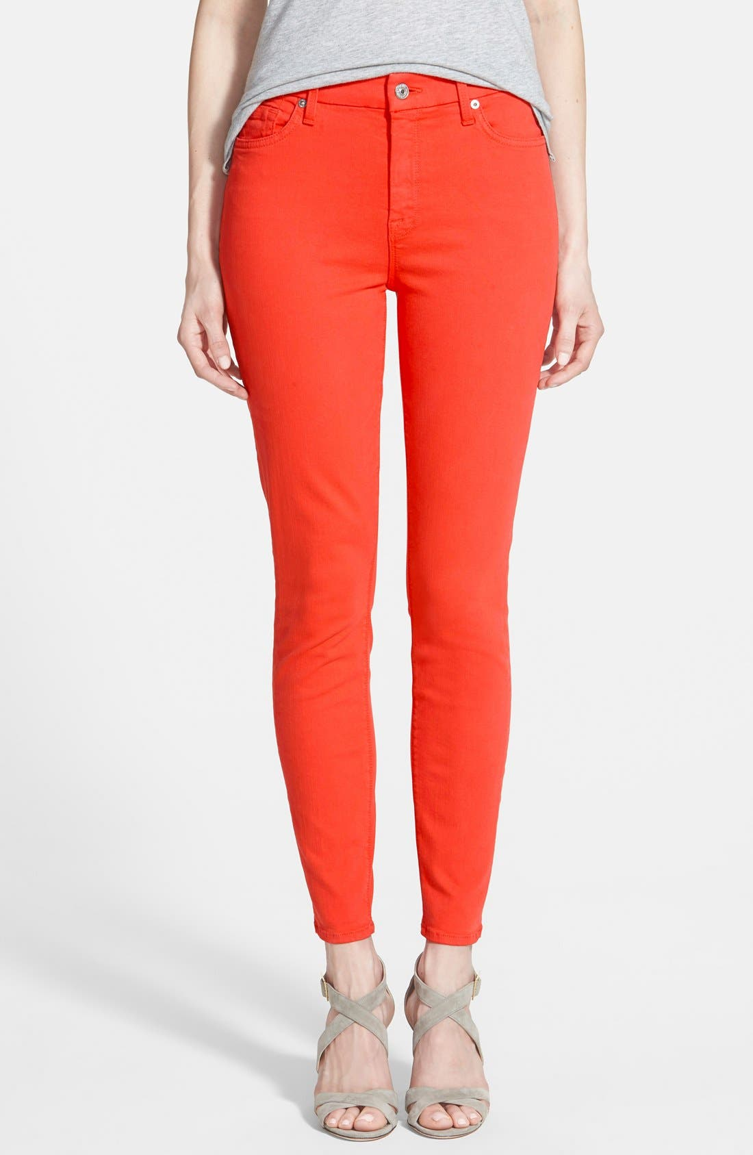 Alternate Image 1 Selected - 7 For All Mankind® High Rise Ankle Skinny Jeans (California Poppy)