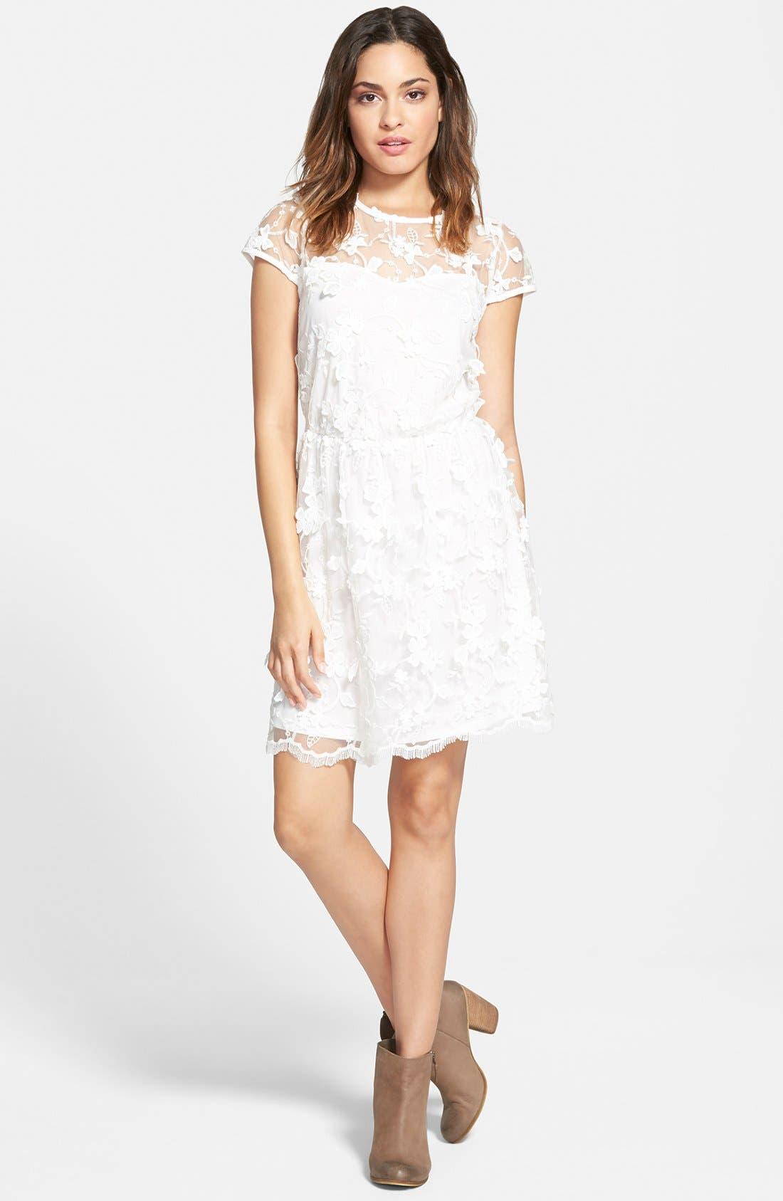 Alternate Image 1 Selected - Leola Couture Floral Embroidered Skater Dress