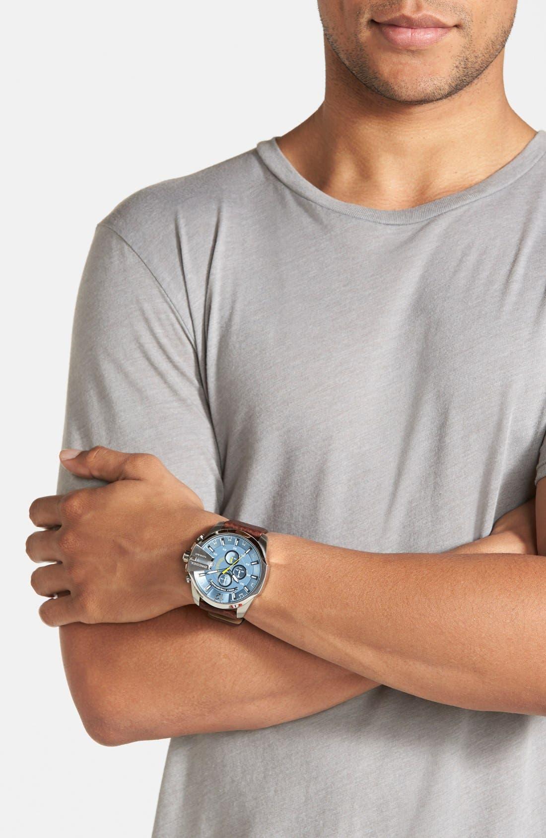 Alternate Image 4  - DIESEL® 'Mega Chief' Leather Strap Watch, 51mm