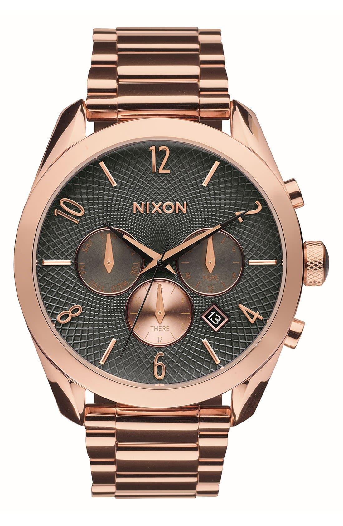 Alternate Image 1 Selected - Nixon 'Bullet' Guilloche Chronograph Bracelet Watch, 42mm