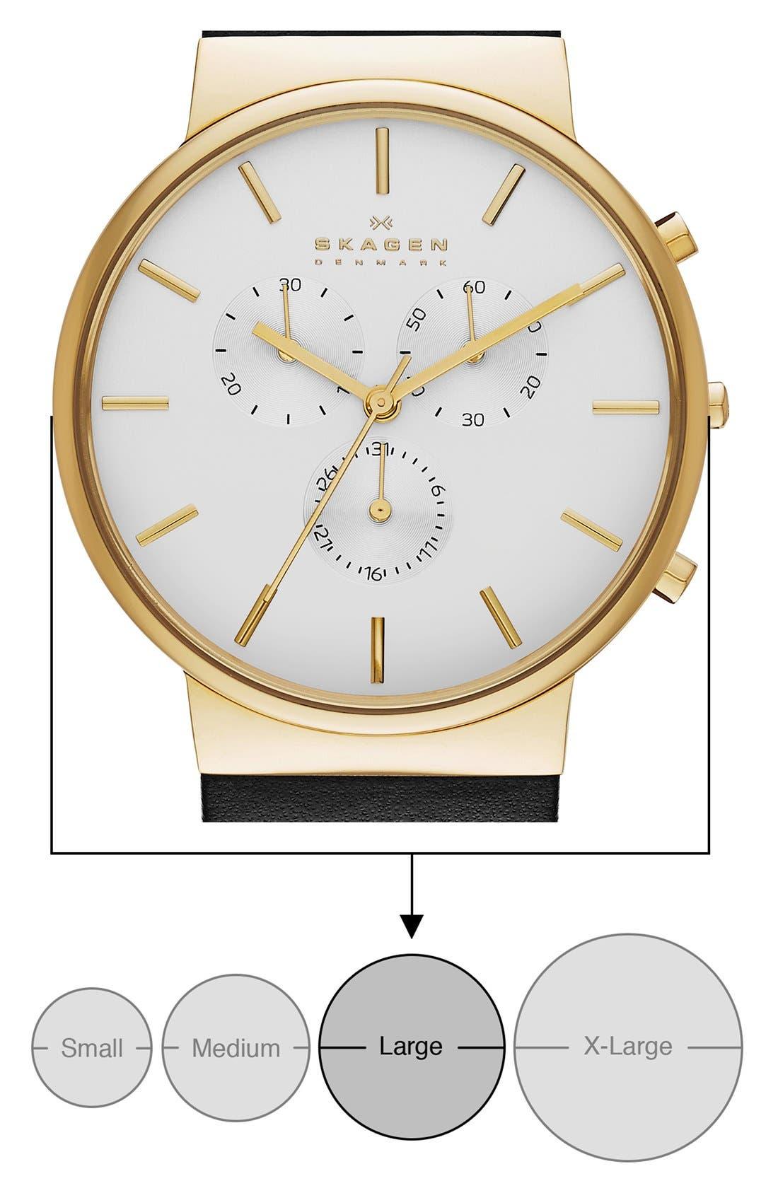 Alternate Image 5  - Skagen 'Ancher' Chronograph Leather Strap Watch, 40mm