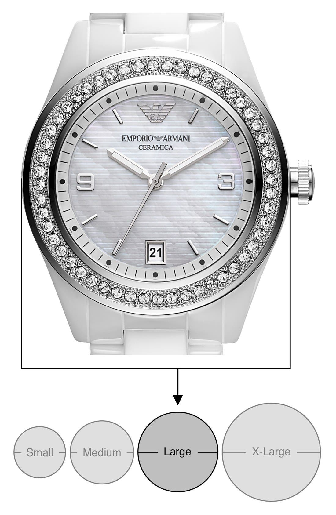 Alternate Image 4  - Emporio Armani Medium Round Crystal & Ceramic Watch, 39mm