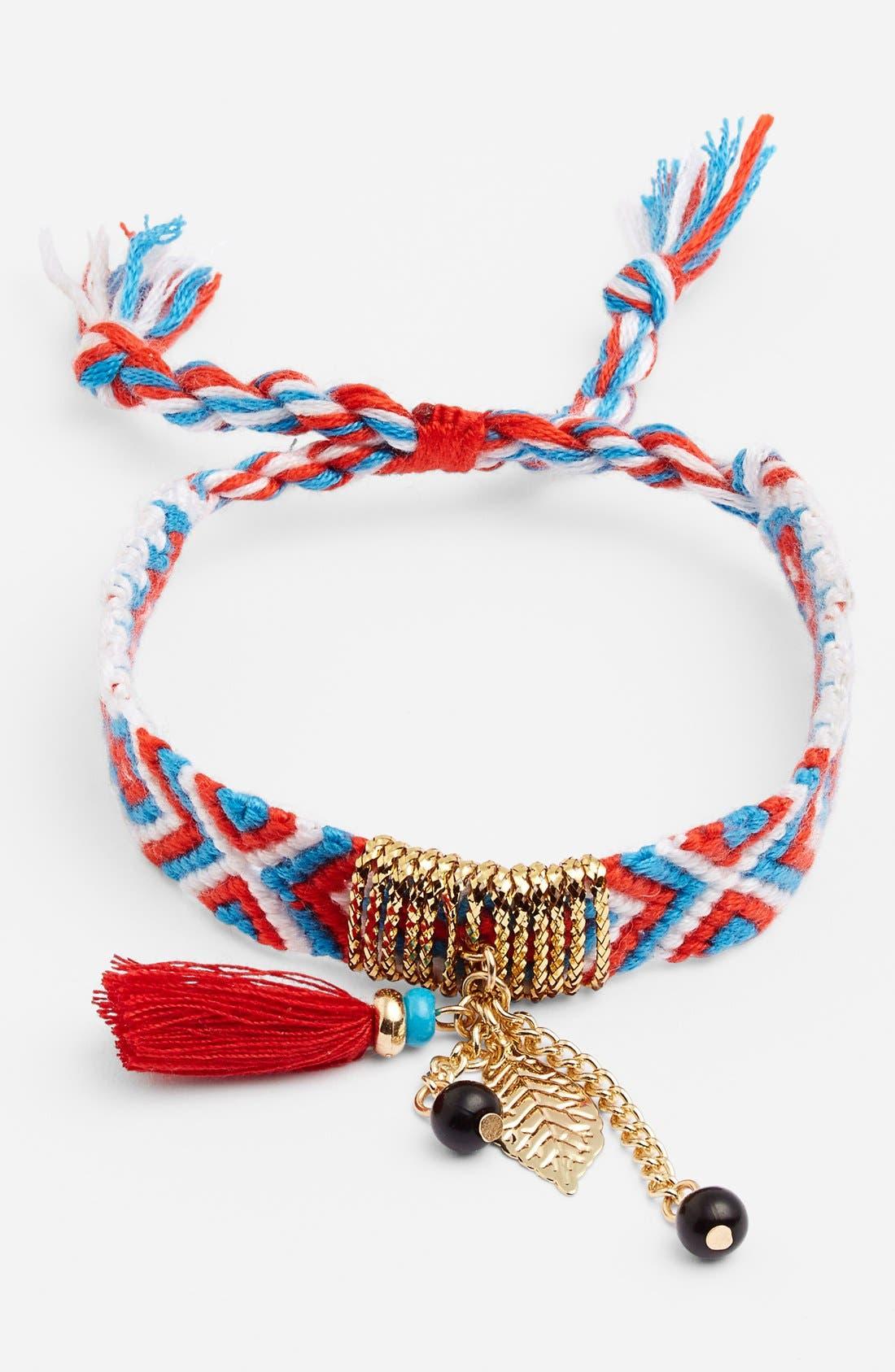 Alternate Image 1 Selected - Cara Tassel Woven Friendship Bracelet