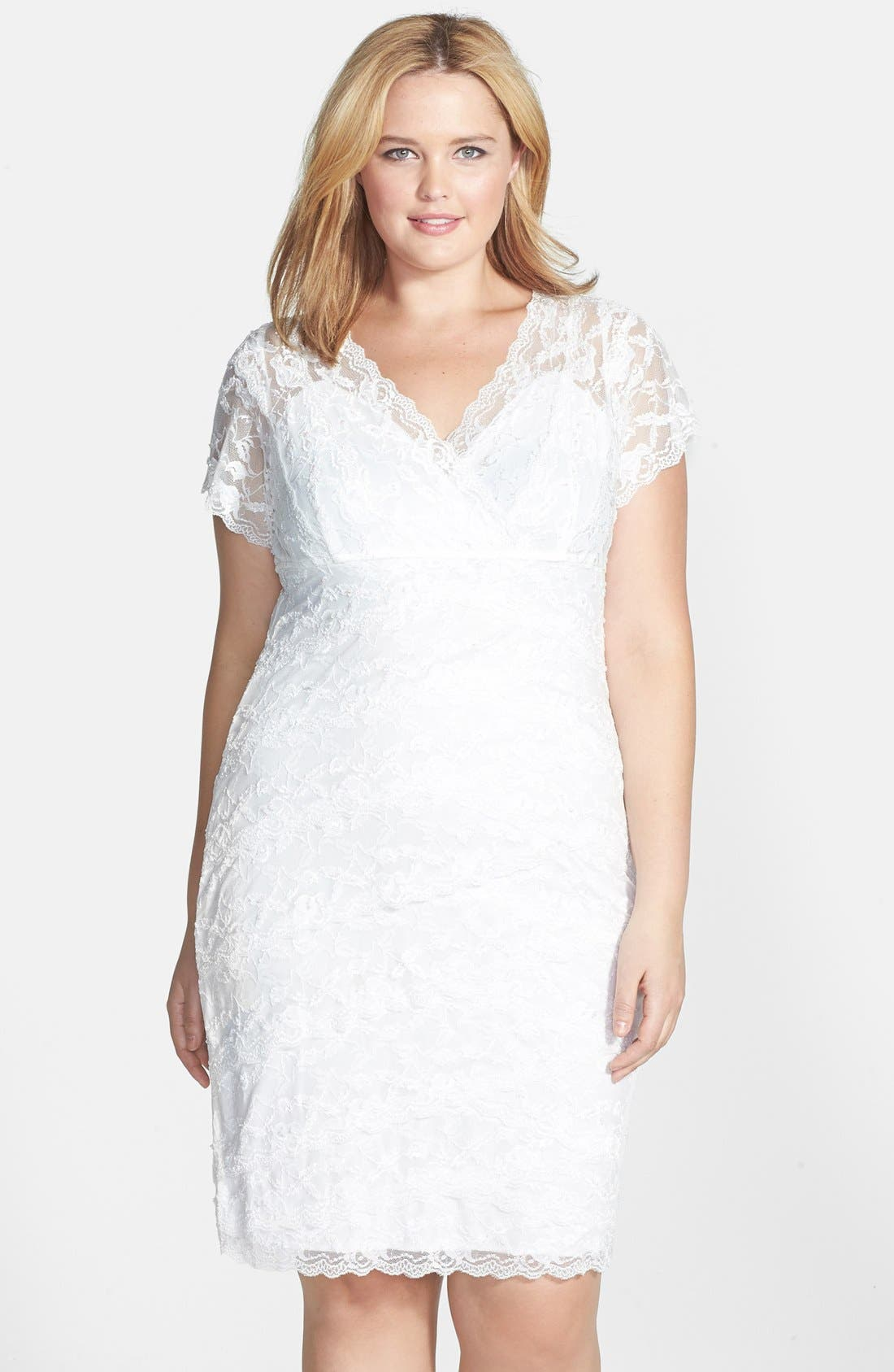 Alternate Image 1 Selected - Marina Tiered Lace Dress (Plus Size)