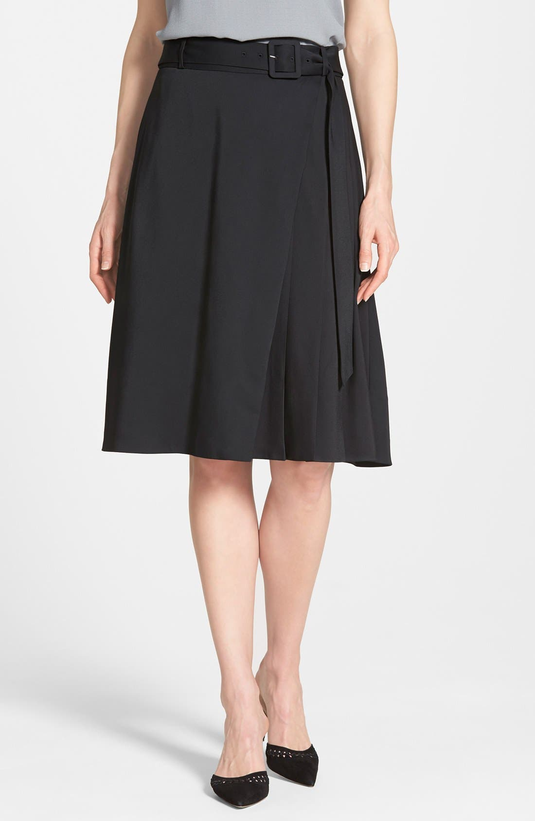 Alternate Image 1 Selected - Classiques Entier® Belted Full Skirt (Regular & Petite)