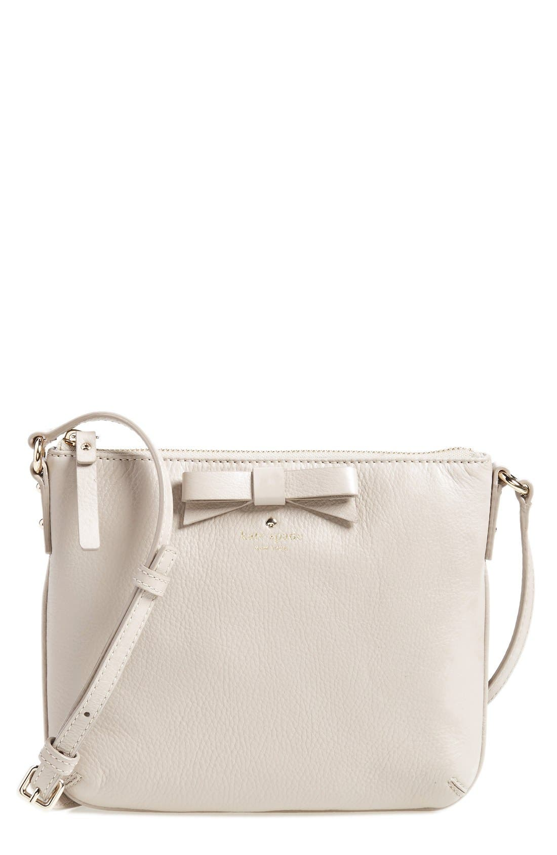 Alternate Image 1 Selected - kate spade new york 'north court - bow tenley' pebbled leather crossbody bag (Nordstrom Exclusive)