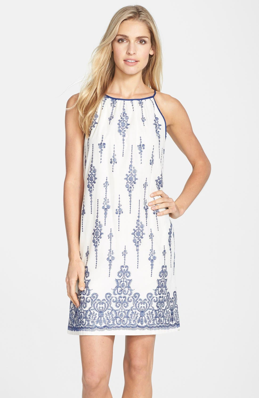 Main Image - Taylor Dresses Embroidered Cotton Voile Shift Dress