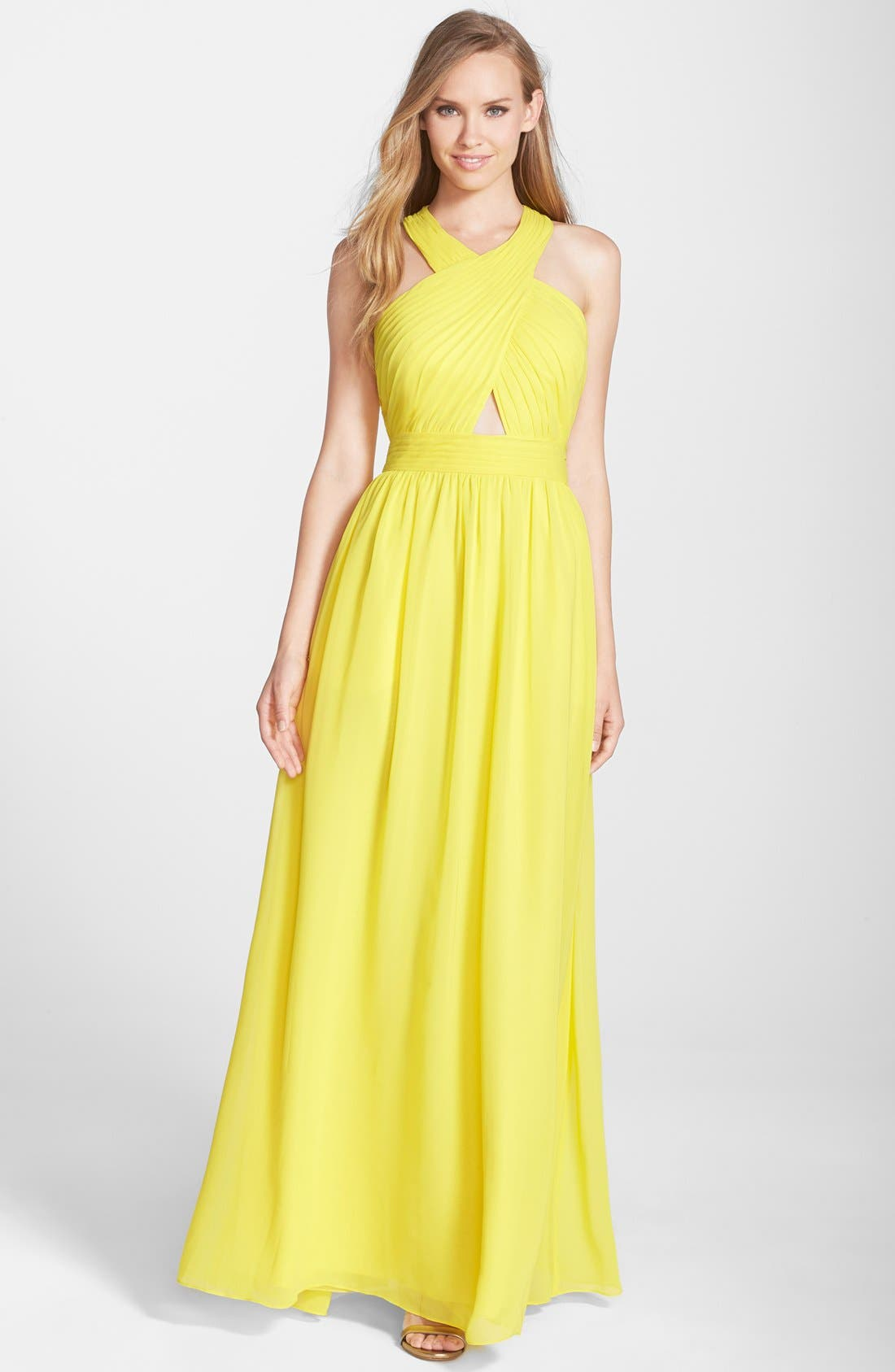Main Image - Hailey by Adrianna Papell Ruched Cutout Chiffon Gown