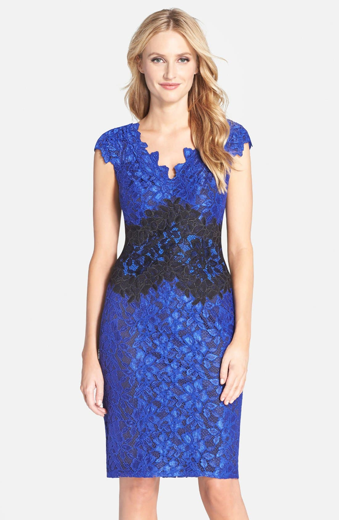 Alternate Image 1 Selected - Tadashi Shoji Two-Tone Lace Sheath Dress