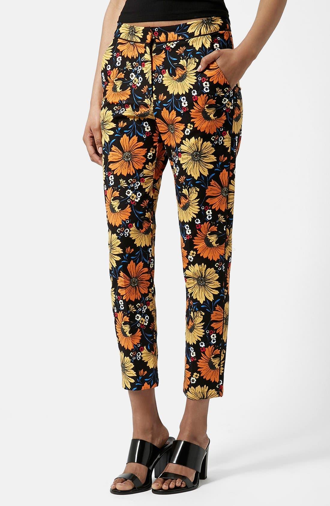 Main Image - Topshop Daisy Print Cigarette Trousers