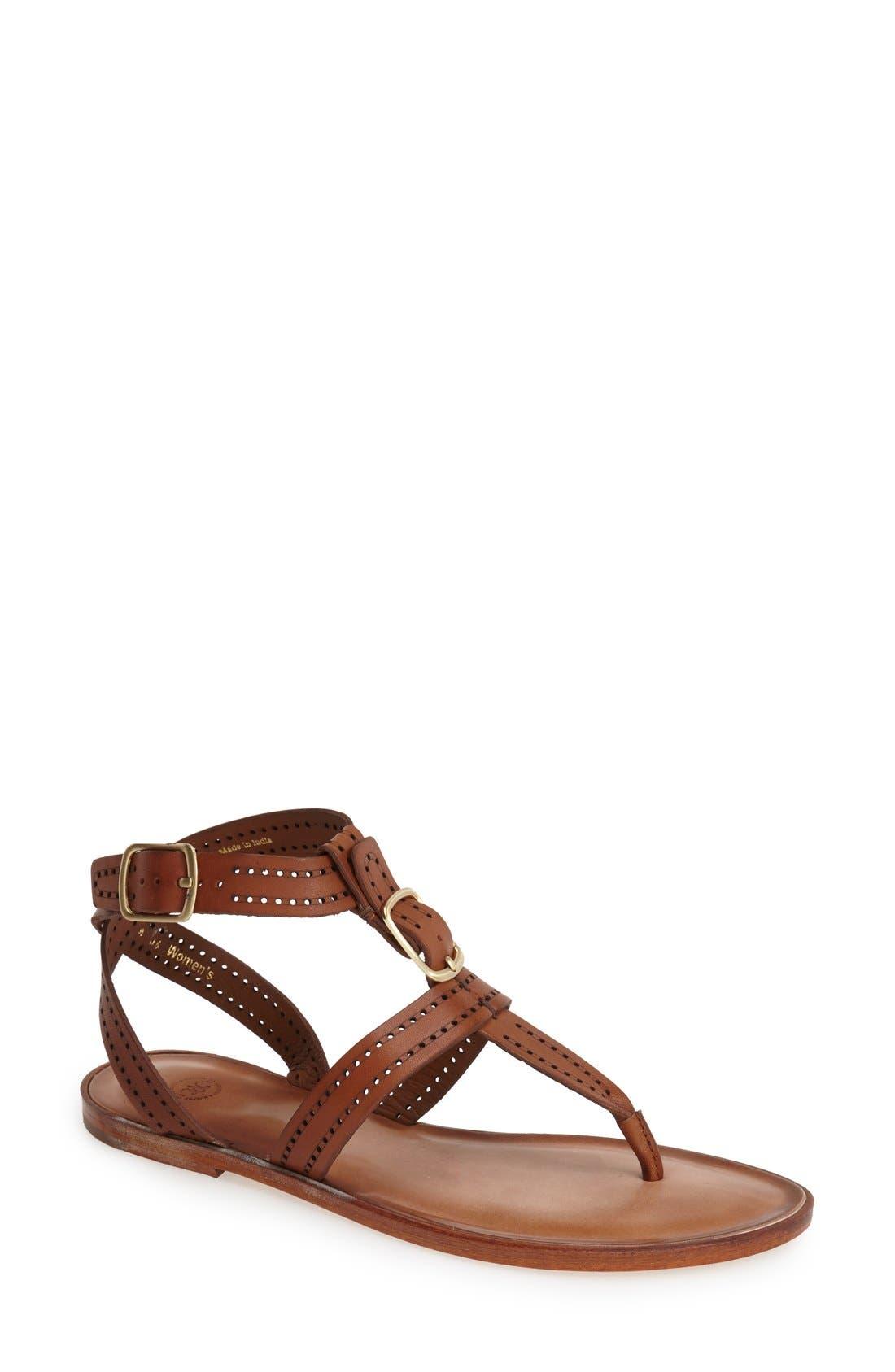 Alternate Image 1 Selected - Johnston & Murphy 'Patti' Perforated Leather Thong Sandal (Women)