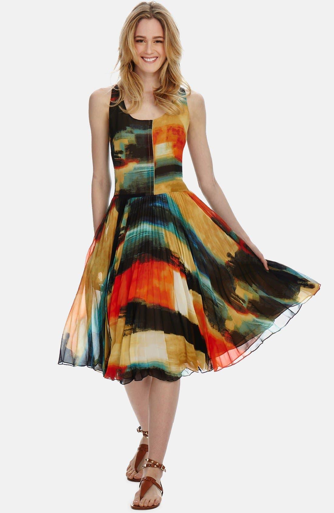 Main Image - Donna Morgan 'Watercolor' Pleated Chiffon Midi Dress