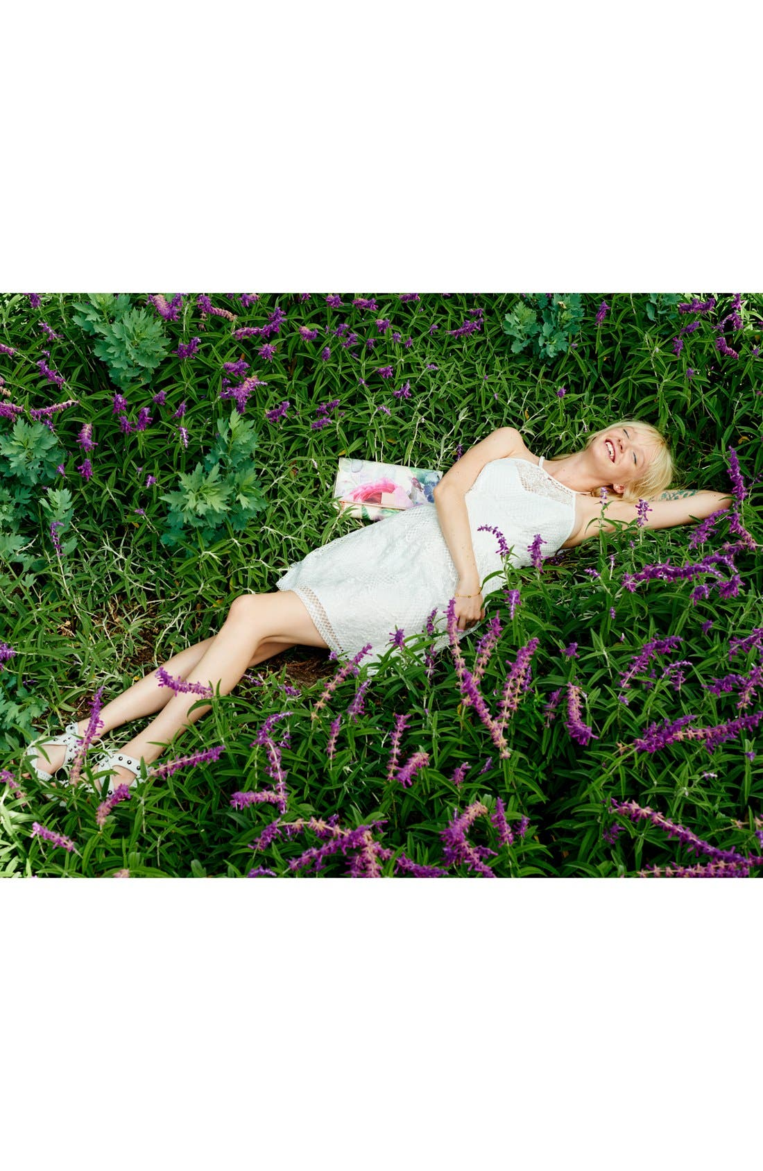 Alternate Image 4  - Trixxi Lace High-Neck Skater Dress
