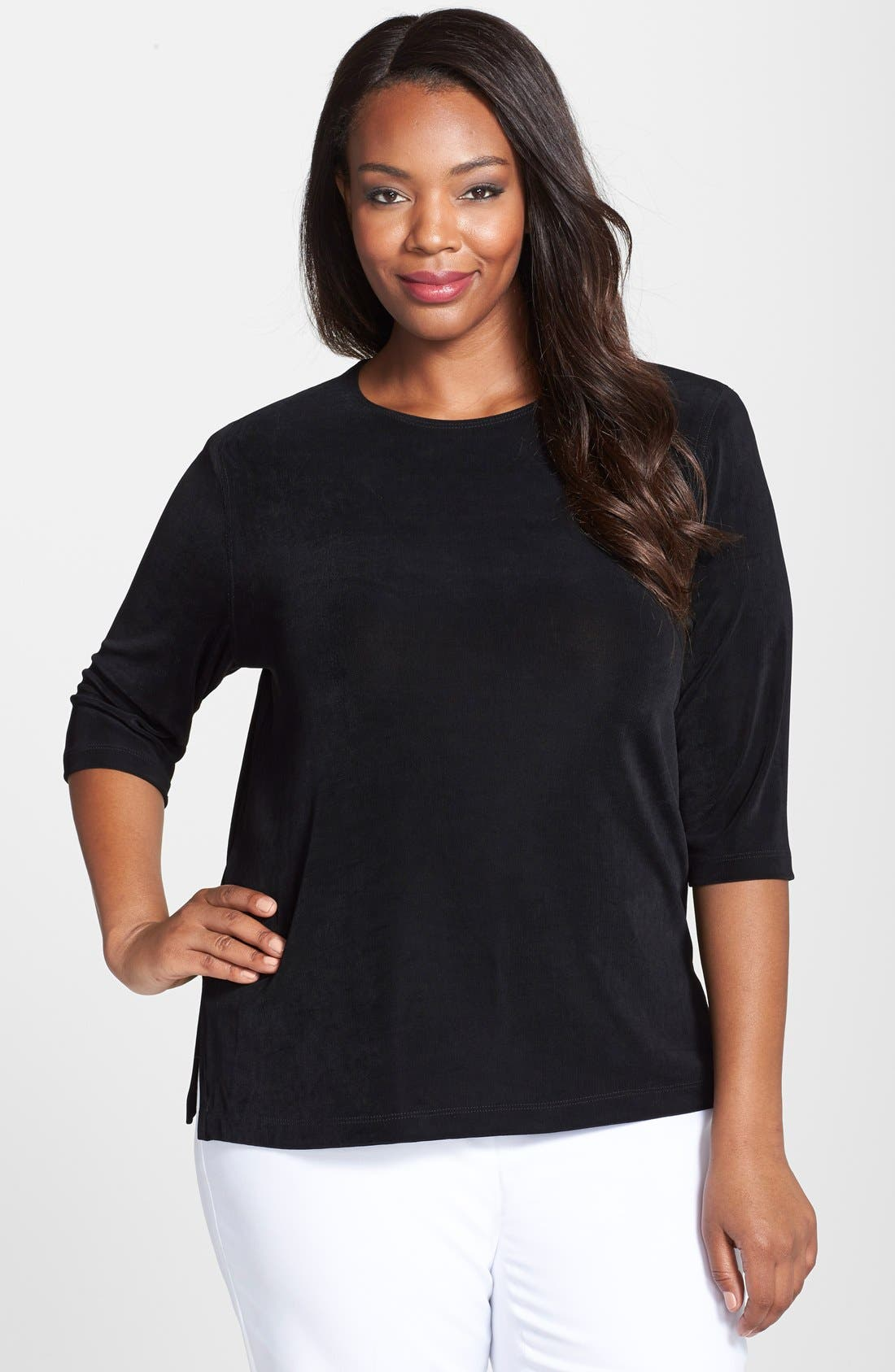 Vikki Vi Three Quarter Sleeve Top (Plus Size)